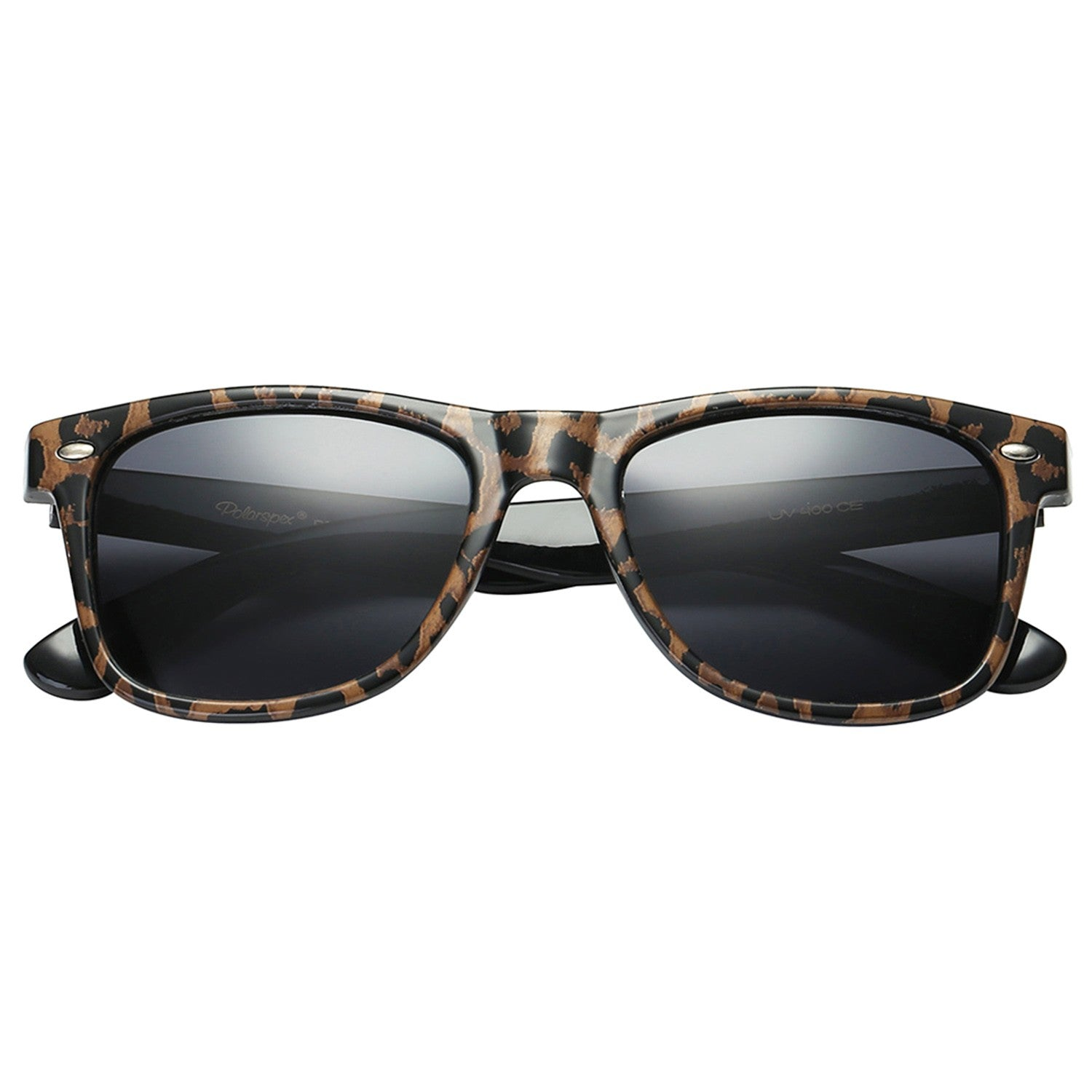 Polarspex Polarized 80's Retro Style Unisex Sunglasses with Leopard Brown Frames and Smoke Lenses