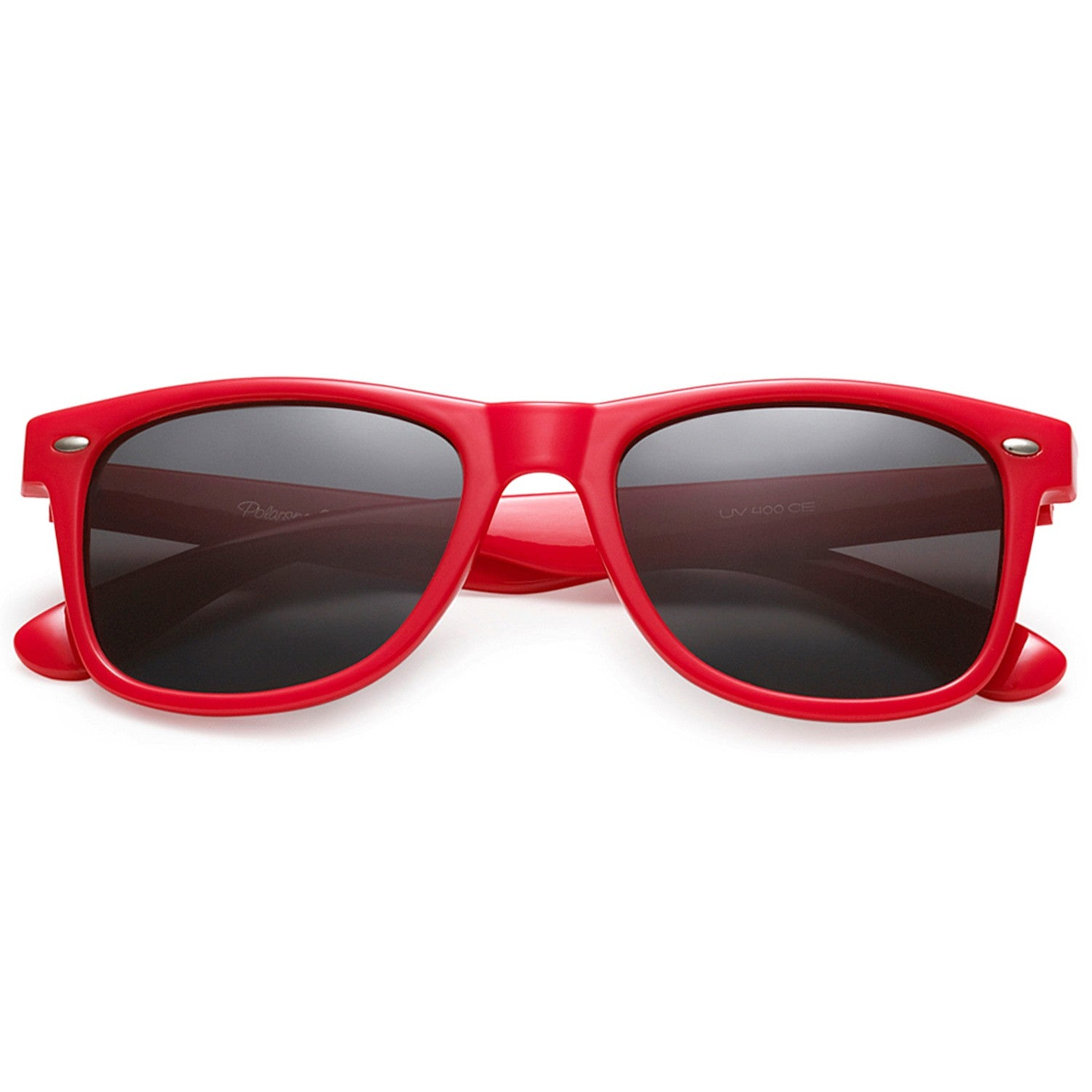 Polarspex Polarized 80's Retro Style Unisex Sunglasses with Scarlet Red Frames and Smoke Lenses