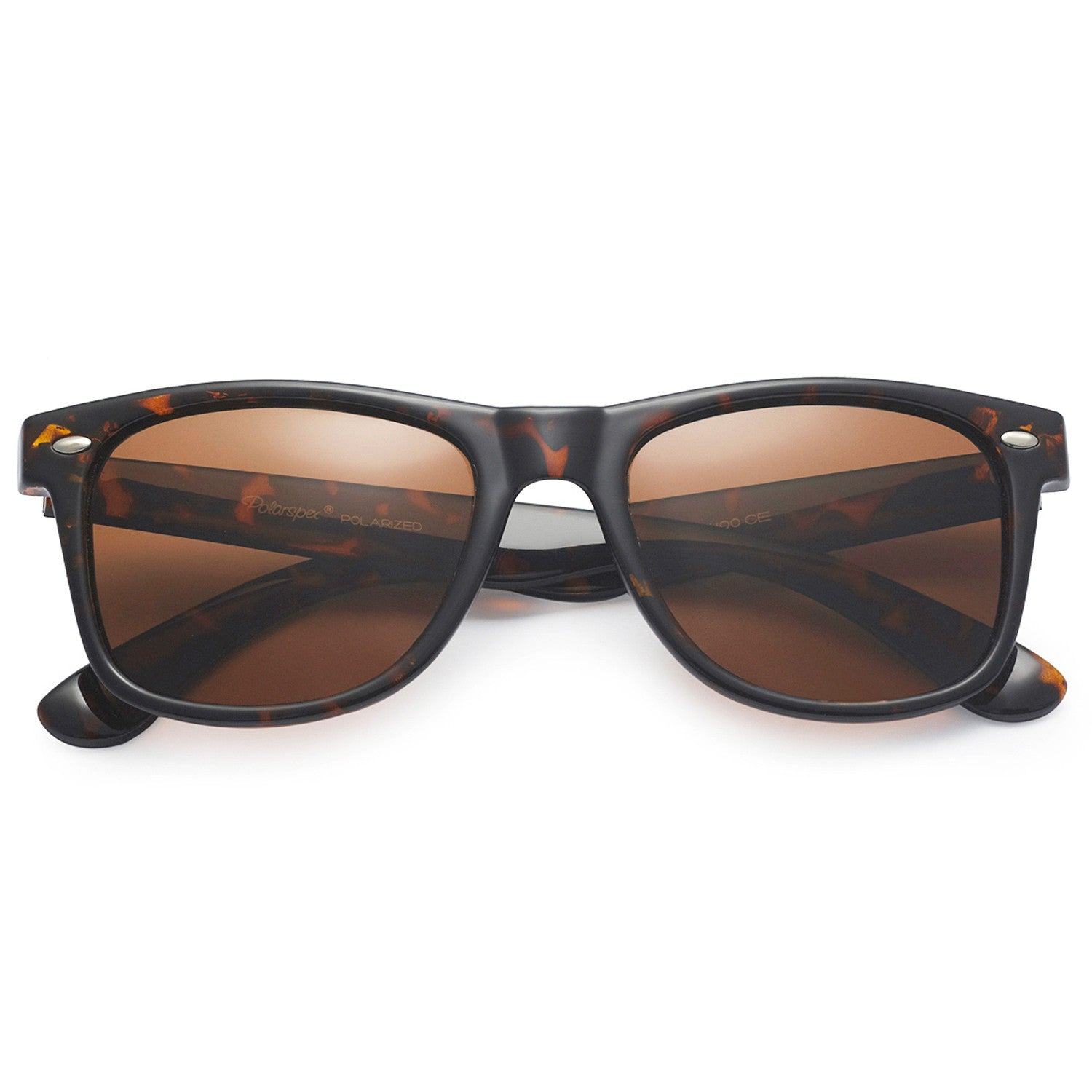 Polarspex Polarized 80's Retro Style Unisex Sunglasses with Tortoise Frames and Brown Lenses