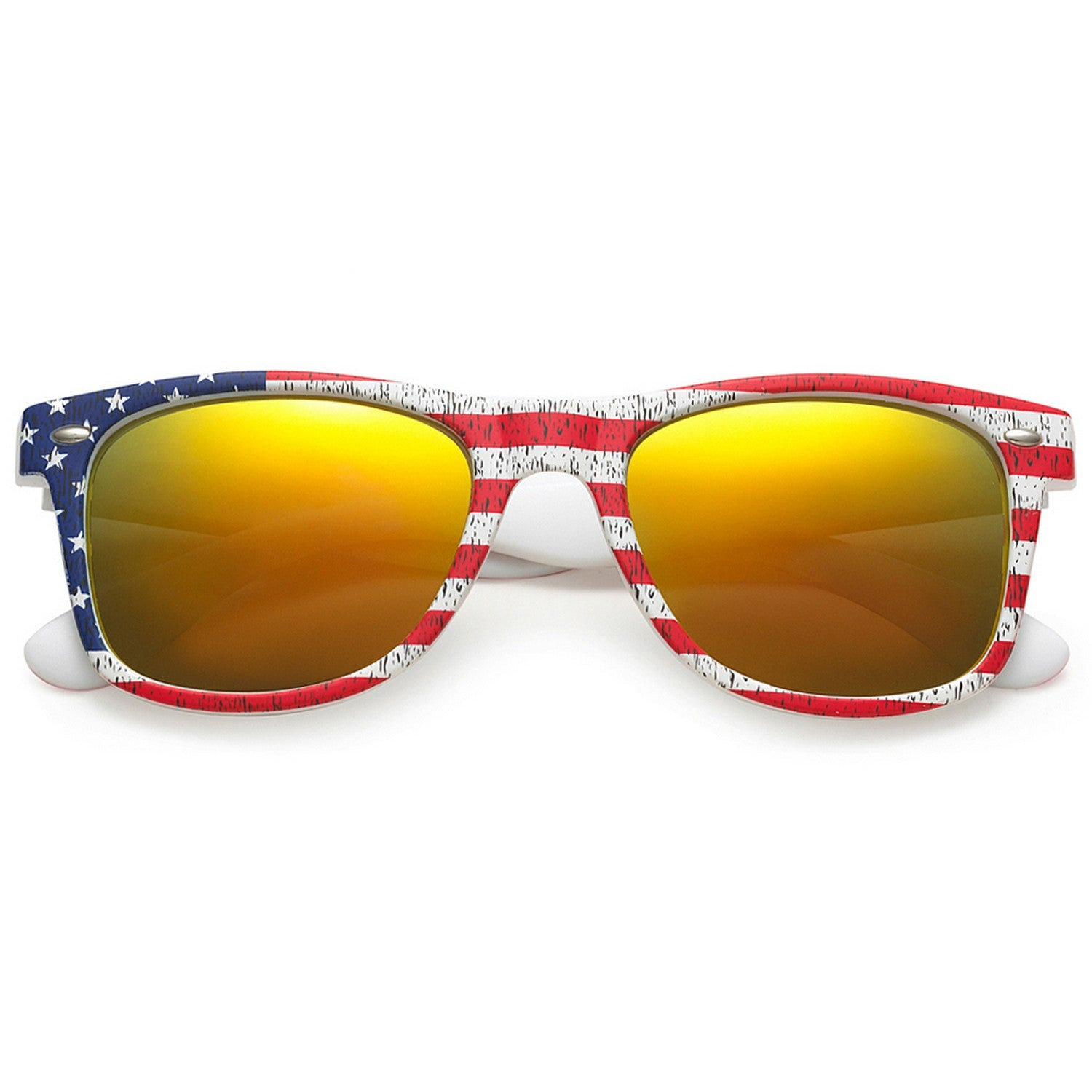 Polarspex Polarized 80's Retro Style Unisex Sunglasses with American Flag Frames and Lava Red Lenses