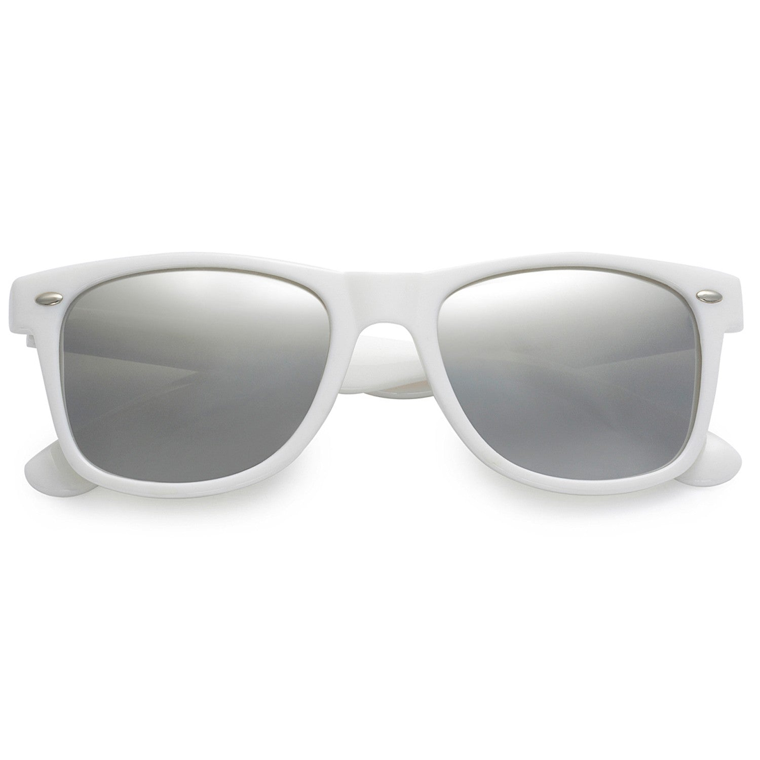 Polarspex Polarized 80's Retro Style Unisex Sunglasses with Gloss White Frames and Ice Tech Lenses