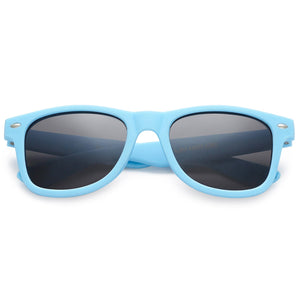 Polarspex Polarized 80's Retro Style Kids Sunglasses with Rubberized Carolina Blue Frames and Polarized Smoke Lenses for Boys and Girls
