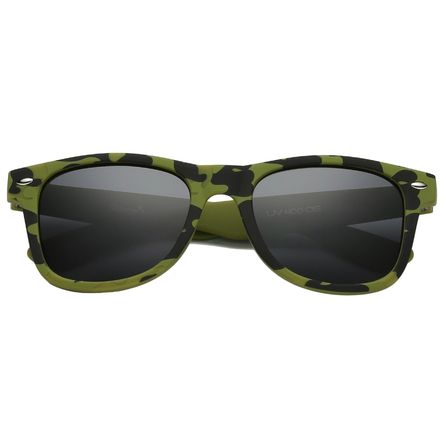 Polarspex Polarized 80's Retro Style Kids Sunglasses with Rubberized Camouflage Green Frames and Polarized Smoke Lenses for Boys and Girls