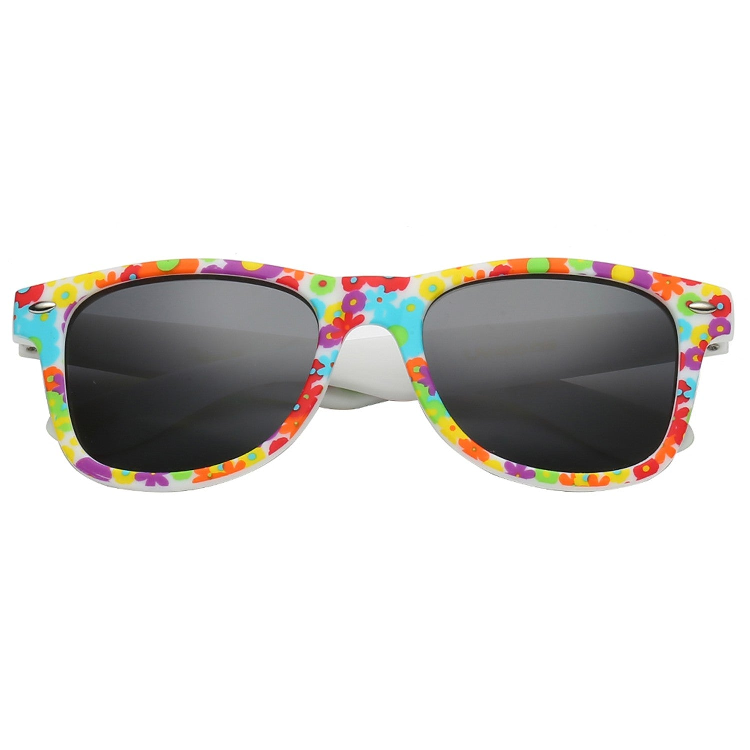 Polarspex Polarized 80's Retro Style Kids Sunglasses with Rubberized Hawaiian Floral Frames and Polarized Smoke Lenses for Boys and Girls