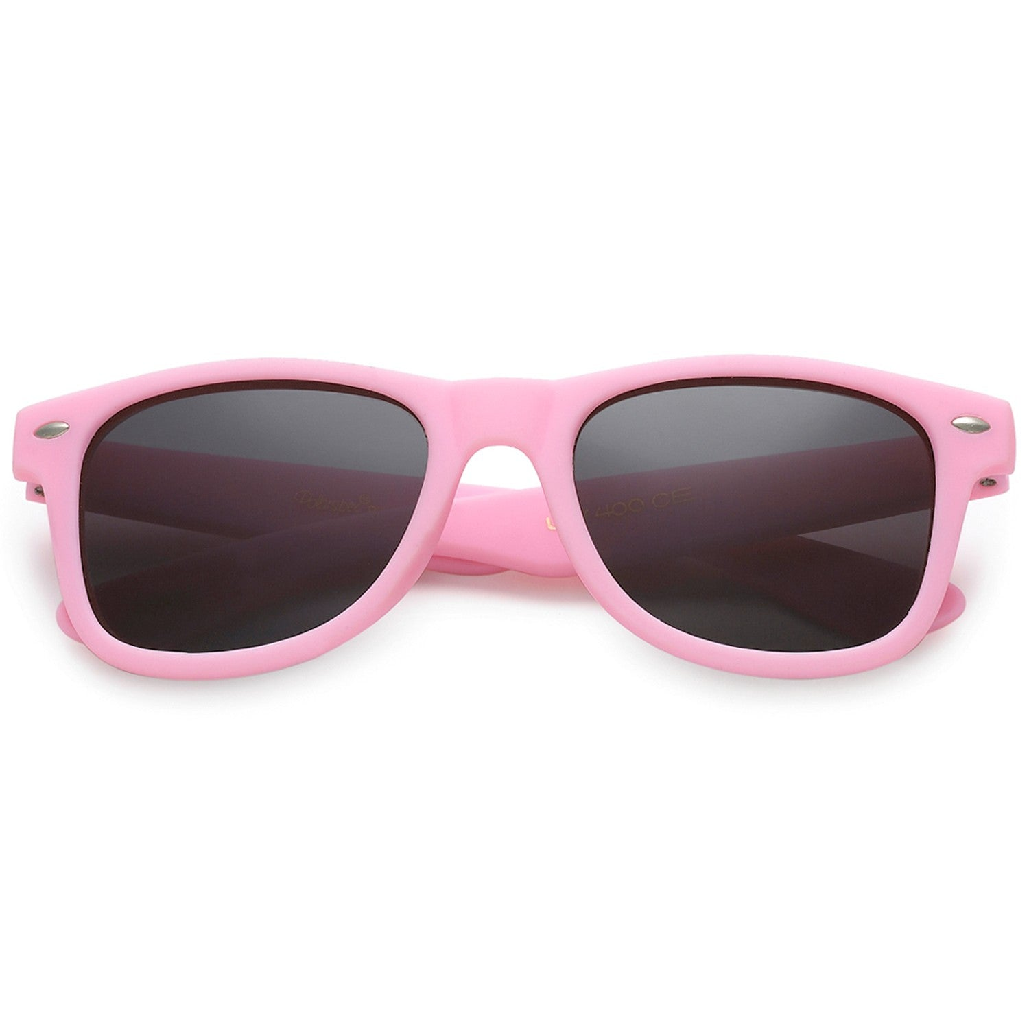 Polarspex Polarized 80's Retro Style Kids Sunglasses with Rubberized Princess Pink Frames and Polarized Smoke Lenses for Boys and Girls