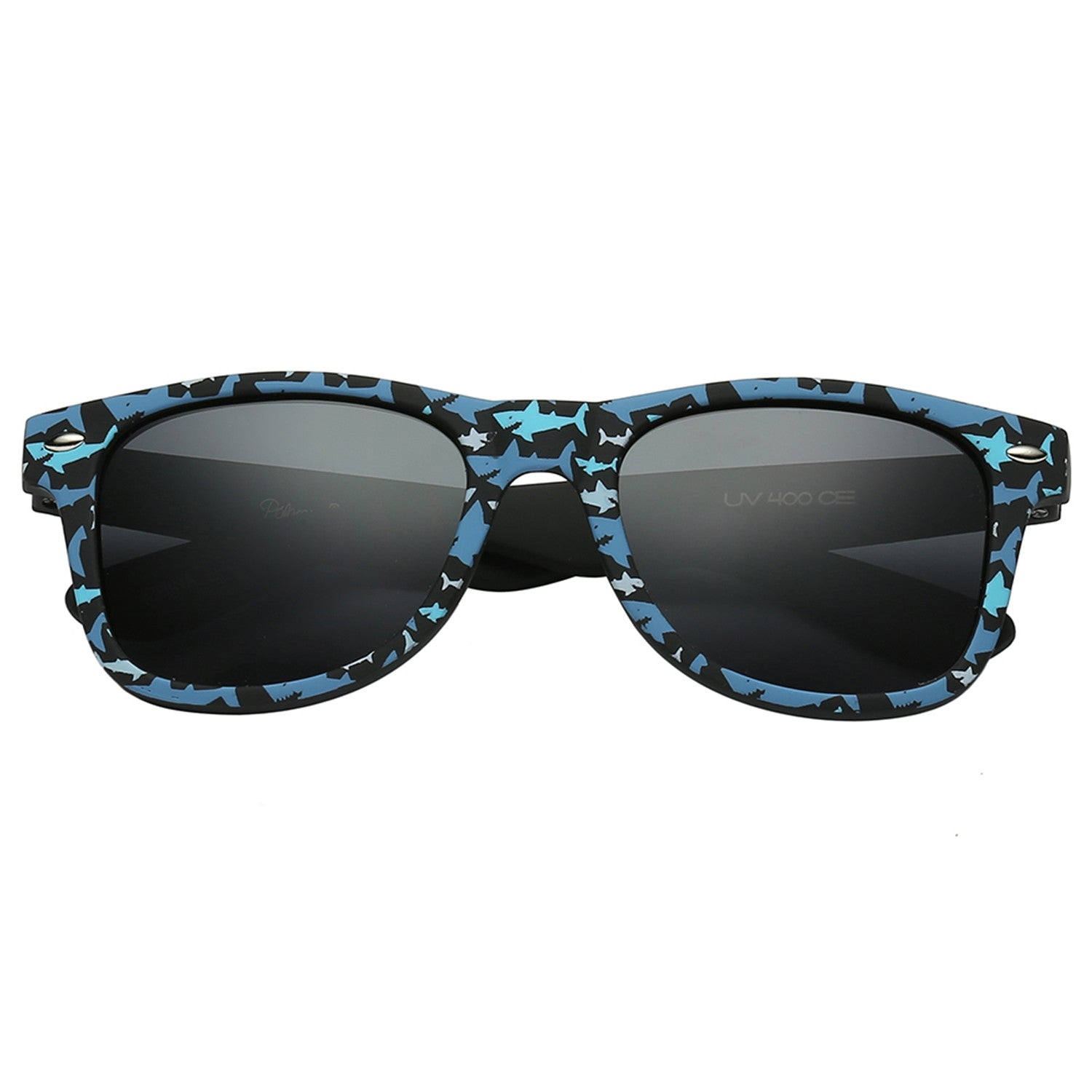 Polarspex Polarized 80's Retro Style Kids Sunglasses with Rubberized Megalodon Shark Frames and Polarized Smoke Lenses for Boys and Girls