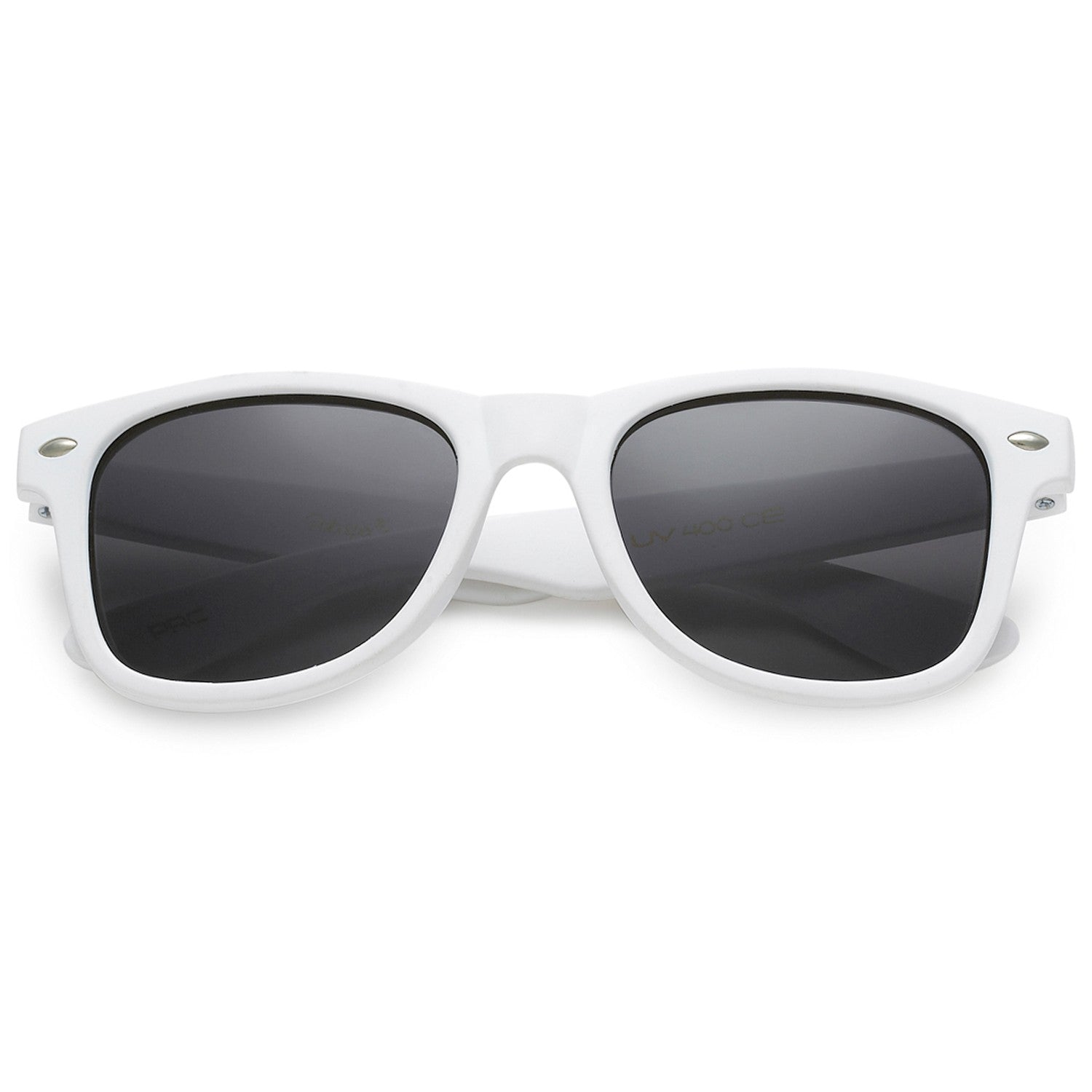 Polarspex Polarized 80's Retro Style Kids Sunglasses with Rubberized Soft White Frames and Polarized Smoke Lenses for Boys and Girls