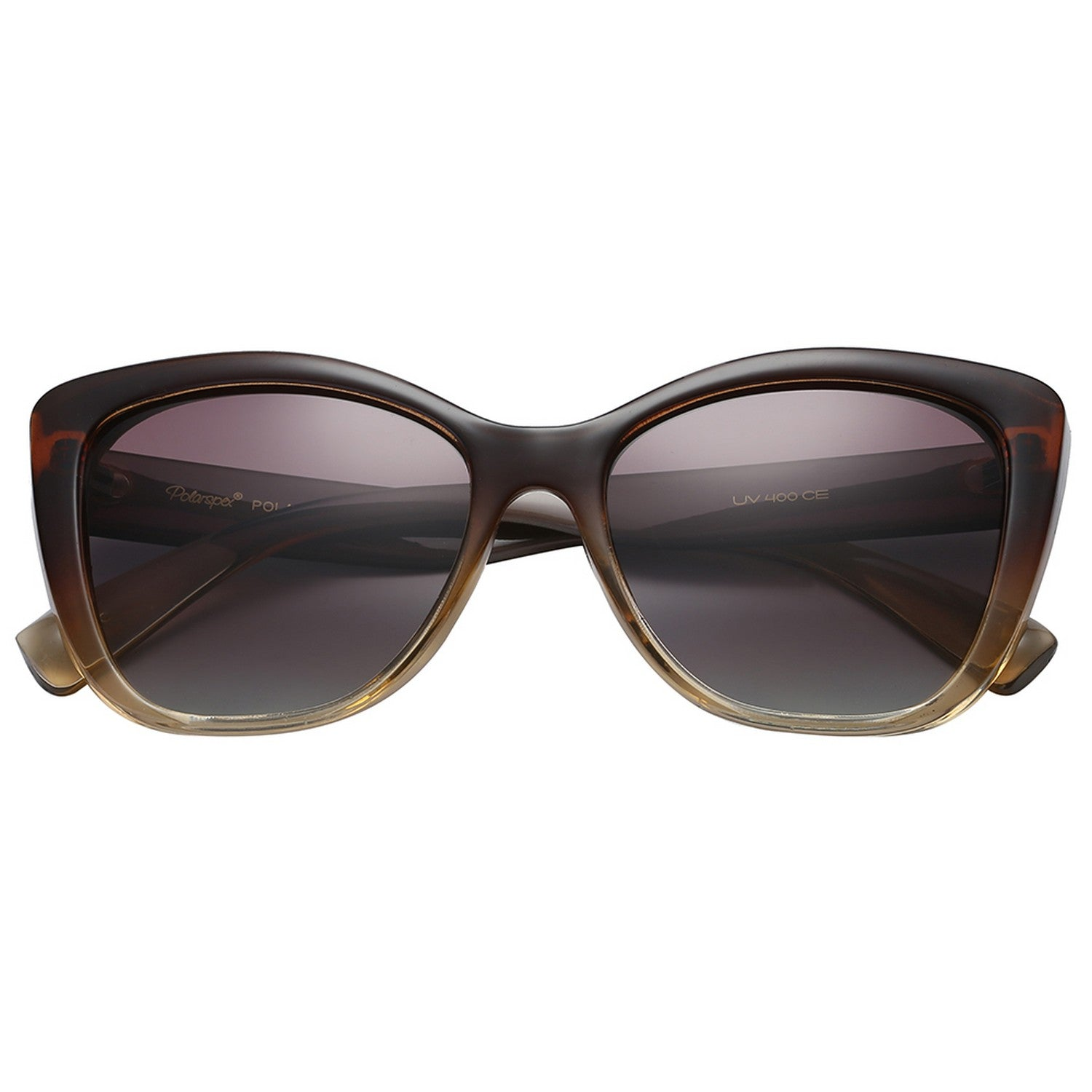 Polarspex Polarized Jackie-O Cat Eyes Style Sunglasses with Gradient Brown Frames and Polarized Gradient Brown Lenses for Women
