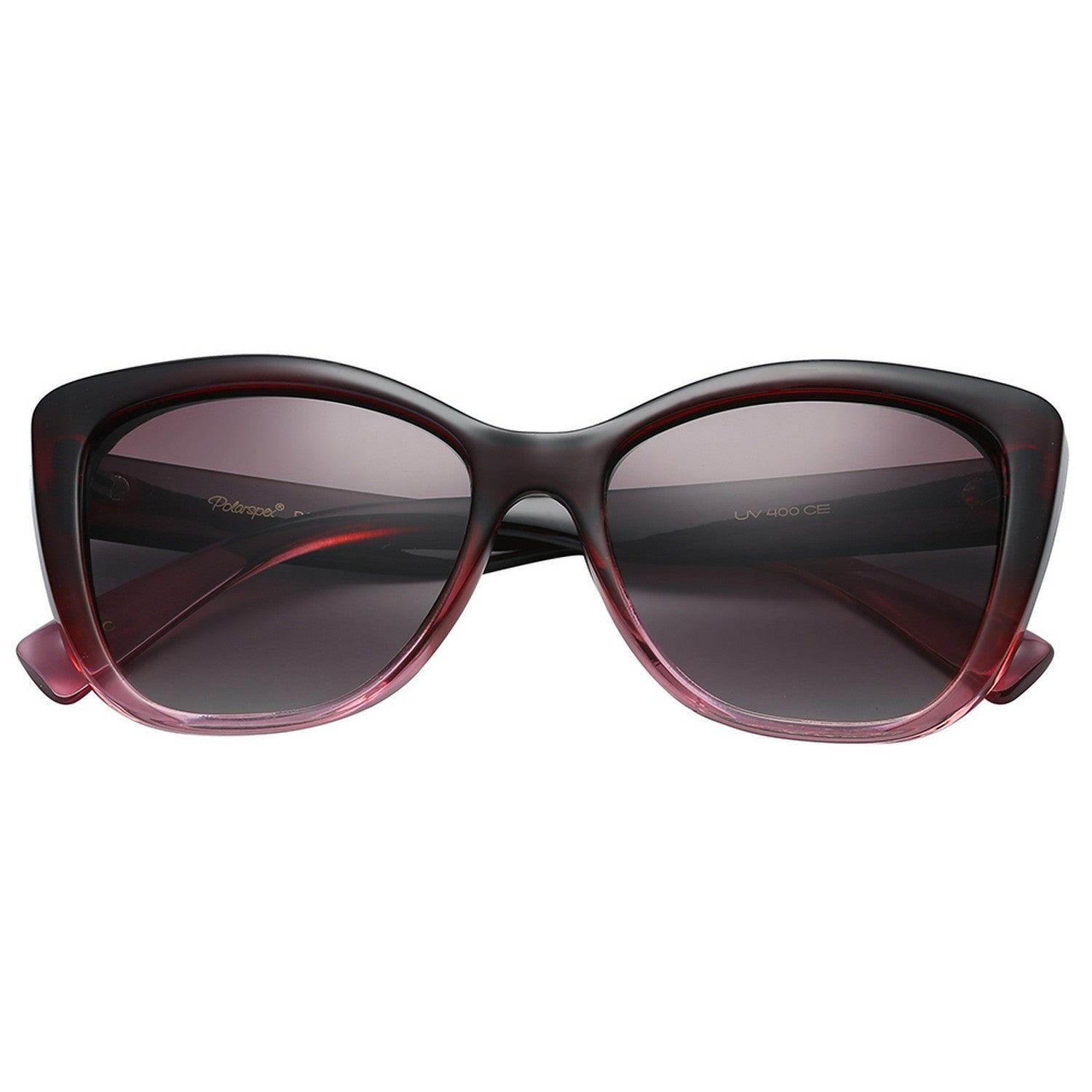 Polarspex Polarized Jackie-O Cat Eyes Style Sunglasses with Gradient Burgundy Frames and Polarized Gradient Brown Lenses for Women