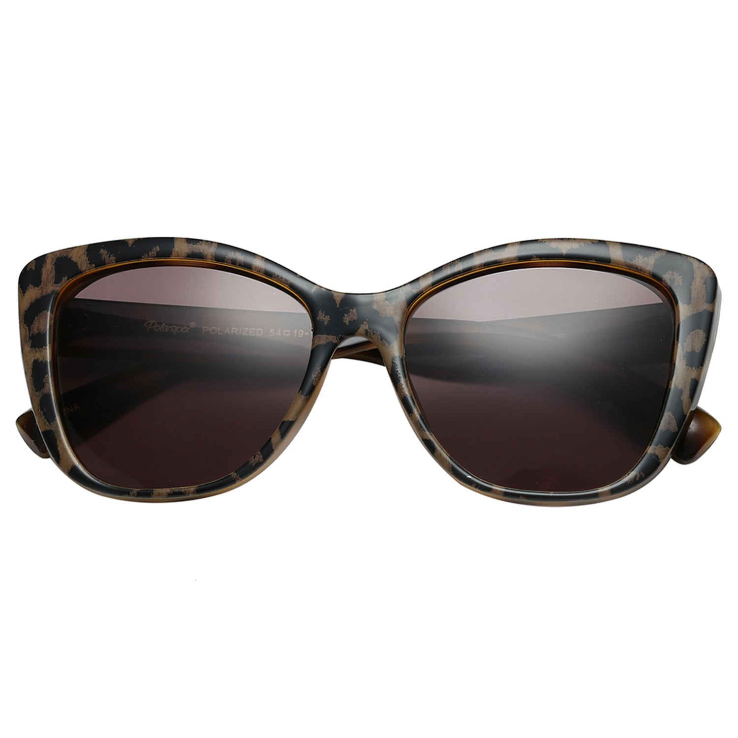 Polarspex Polarized Jackie-O Cat Eyes Style Sunglasses with Leopard Frames and Polarized Smoke Lenses for Women