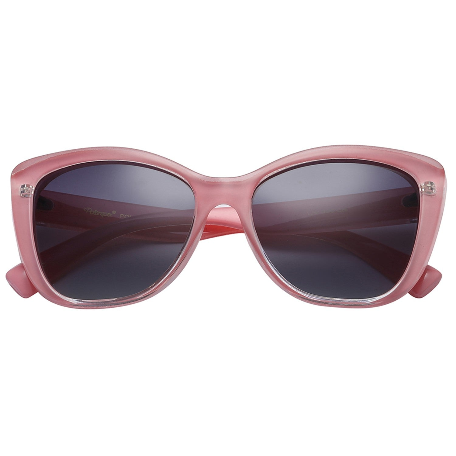 Polarspex Polarized Jackie-O Cat Eyes Style Sunglasses with Princess Pink Frames and Polarized Gradient Smoke Lenses for Women