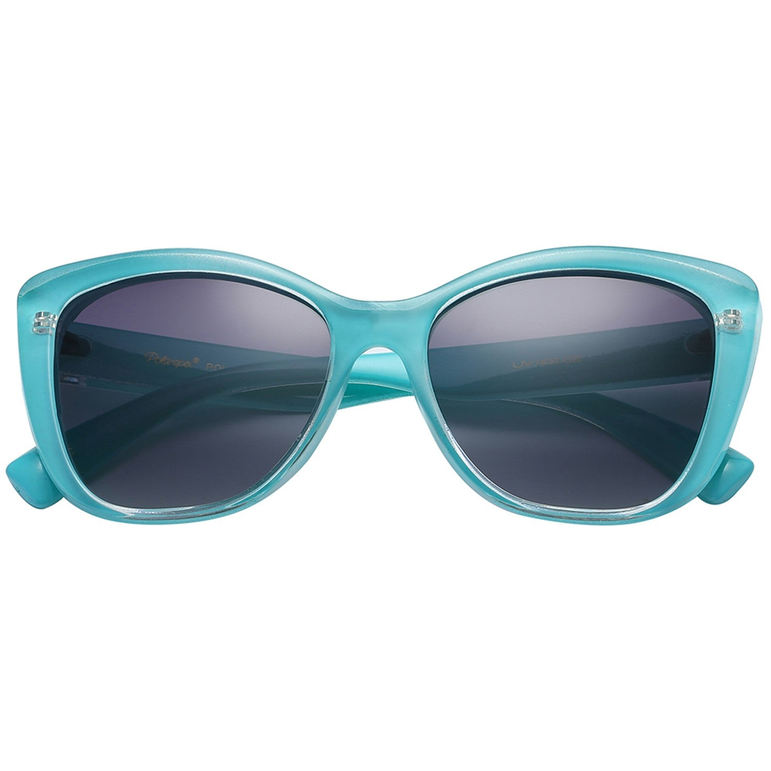 Polarspex Polarized Jackie-O Cat Eyes Style Sunglasses with Turquoise Teal Frames and Polarized Gradient Smoke Lenses for Women