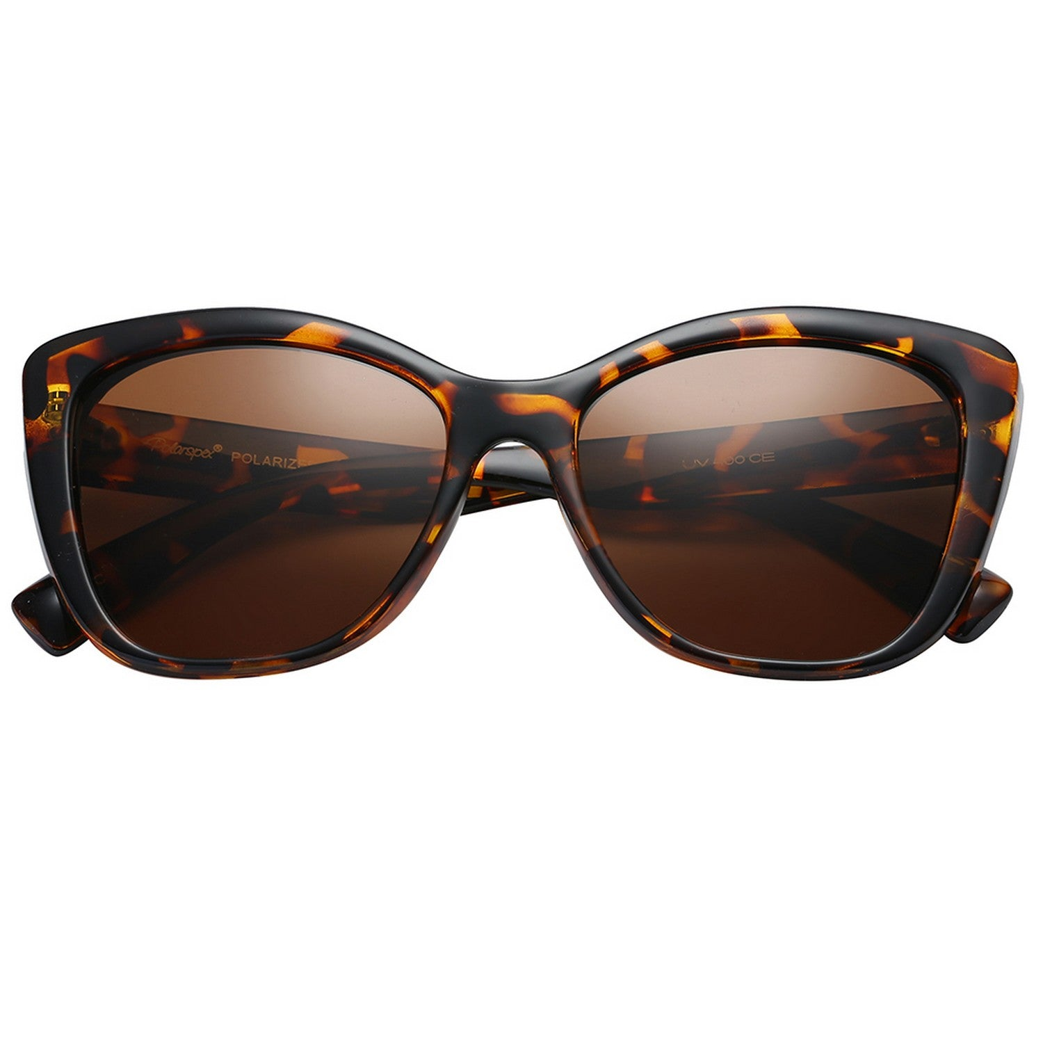 Polarspex Polarized Jackie-O Cat Eyes Style Sunglasses with Brown Tortoise Frames and Polarized Brown Lenses for Women