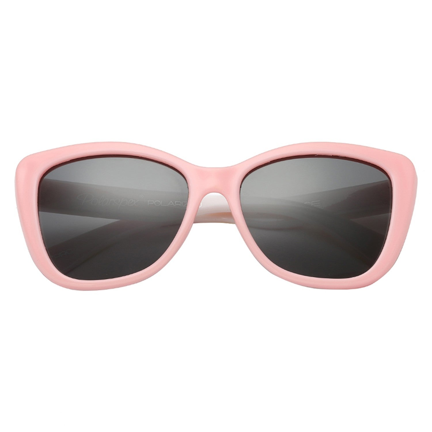 Polarspex Polarized Elastic Cateyes Style (BPA Free) Kids Sunglasses with Princess Pink + Floral Frames and Polarized Smoke Lenses for Girls (Ages 3 - 10)
