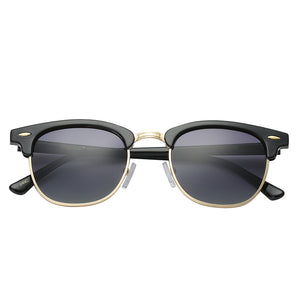 Polarspex Polarized Malcom Half Frame Semi-Rimless Style Unisex Sunglasses with Gloss Black Frames and Gradient Smoke Lenses