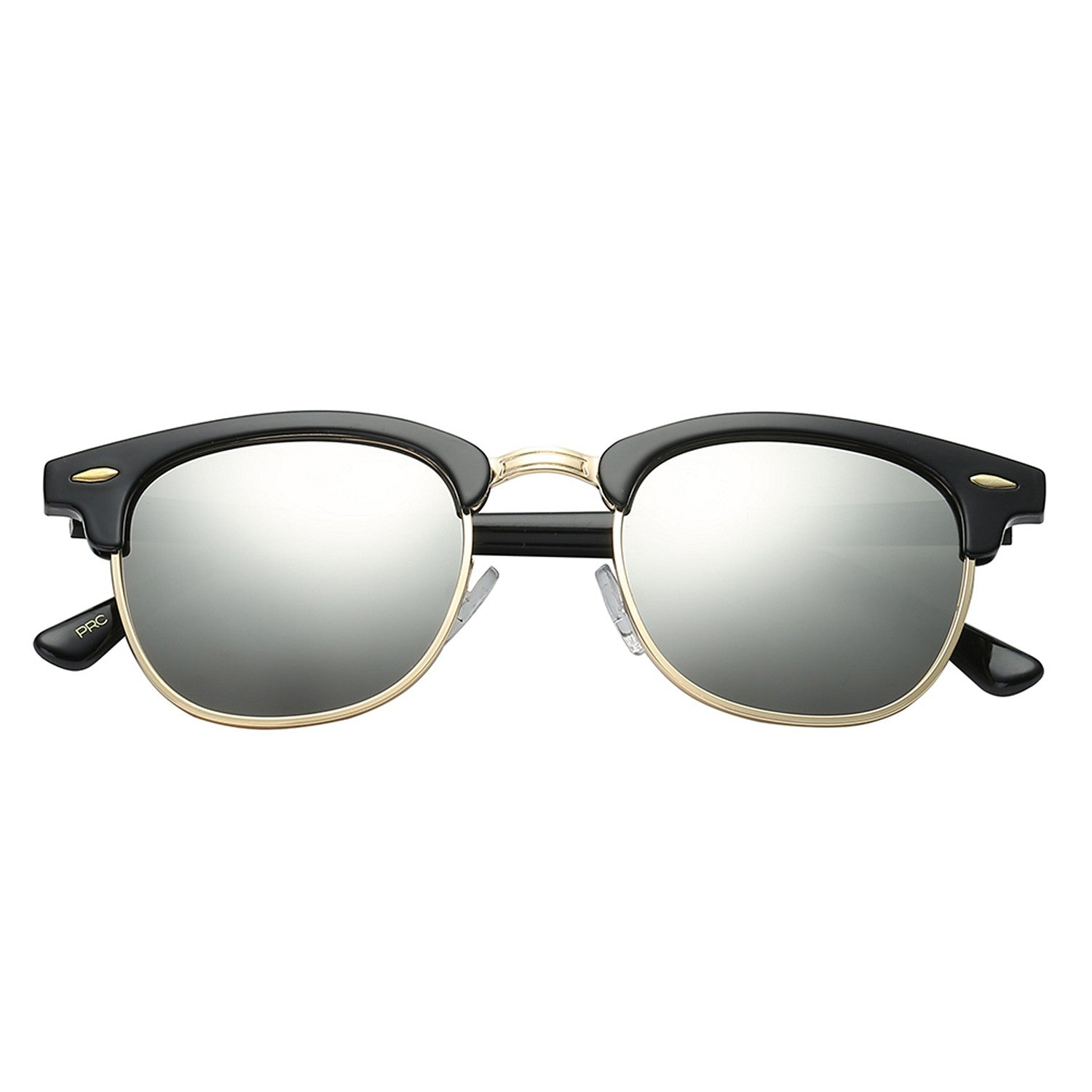 Polarspex Polarized Malcom Half Frame Semi-Rimless Style Unisex Sunglasses with Gloss Black Frames and Ice Tech Lenses