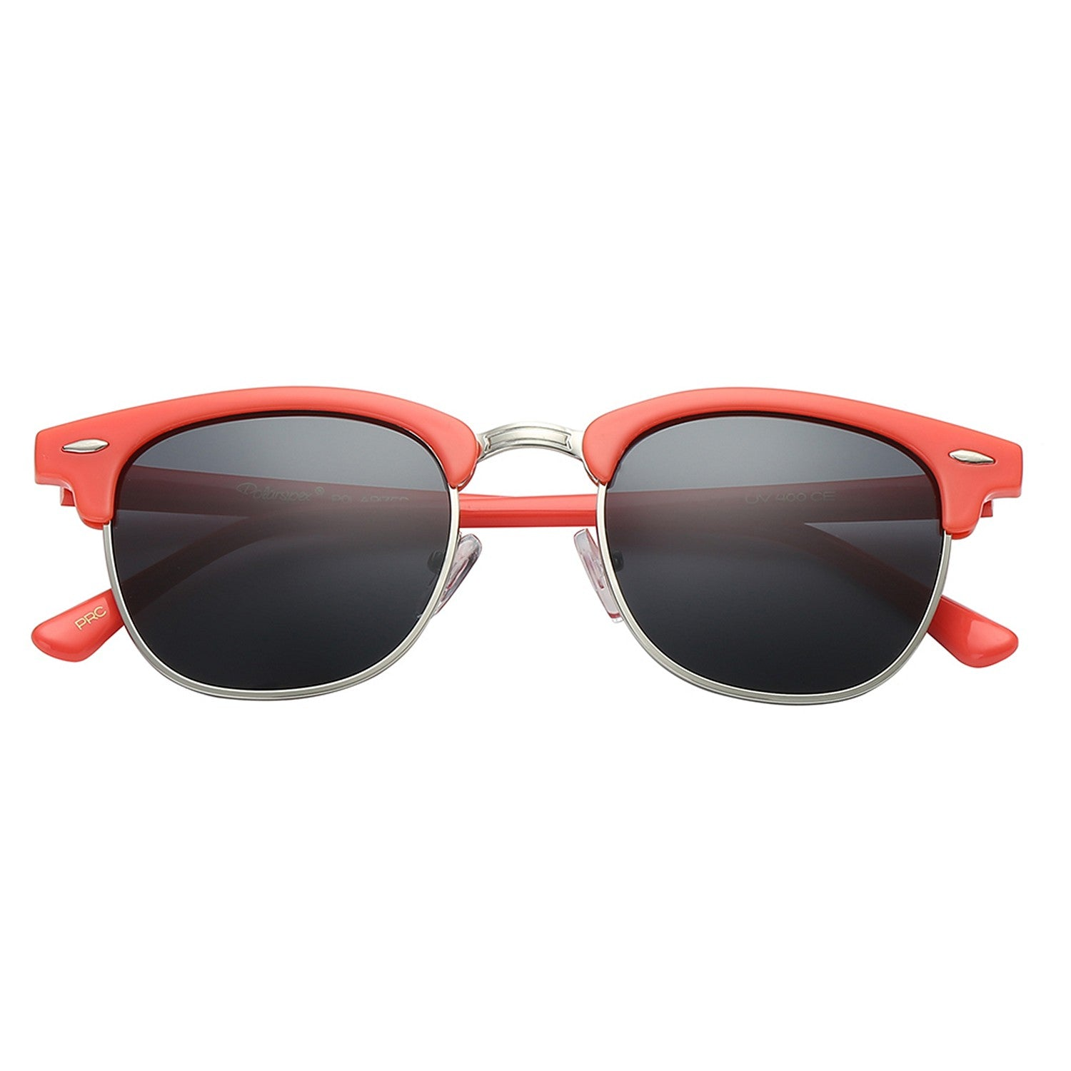 Polarspex Polarized Malcom Half Frame Semi-Rimless Style Unisex Sunglasses with Ocean Coral Frames and Ash Brown Lenses