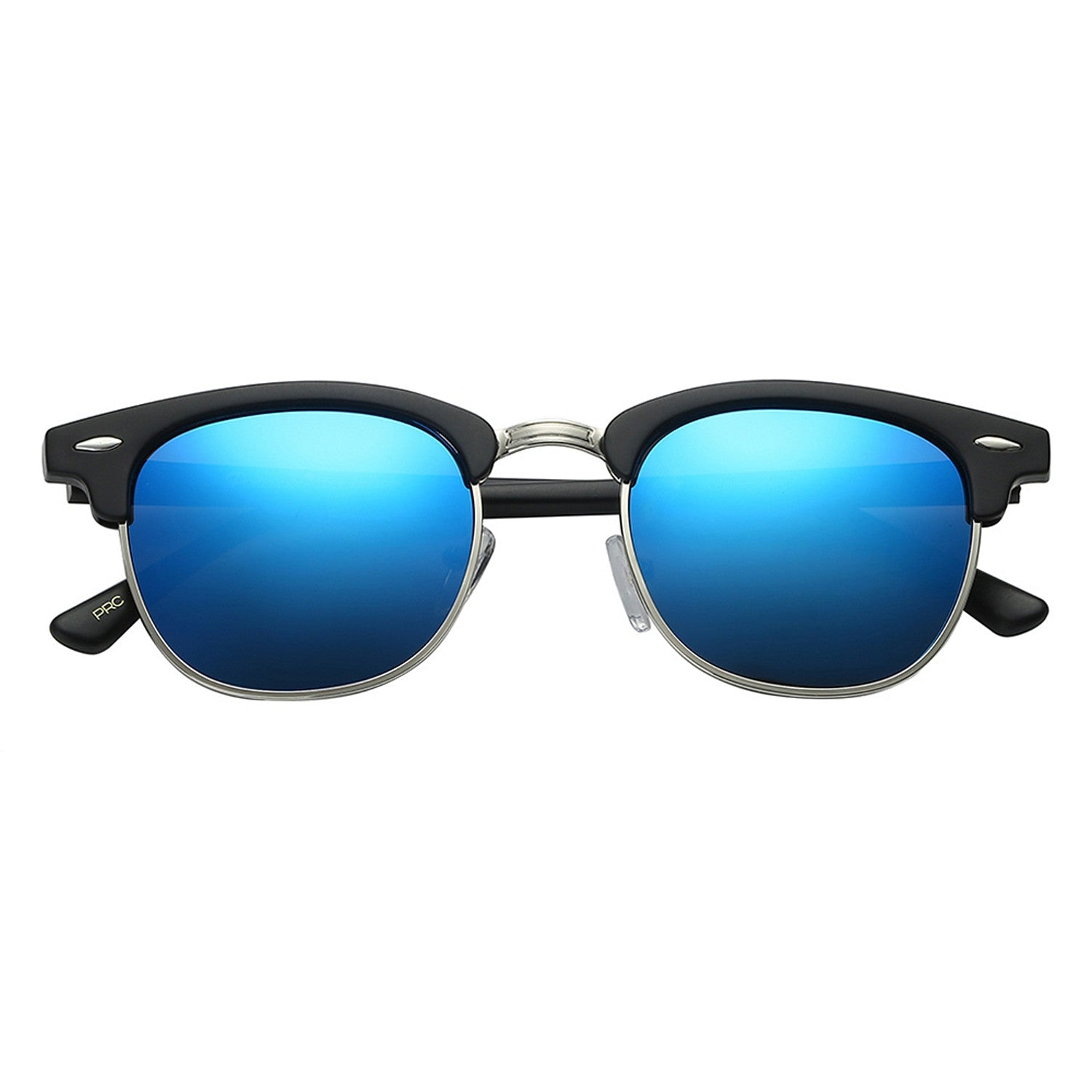 Polarspex Polarized Malcom Half Frame Semi-Rimless Style Unisex Sunglasses with Matte Black Frames and Ice Blue Lenses