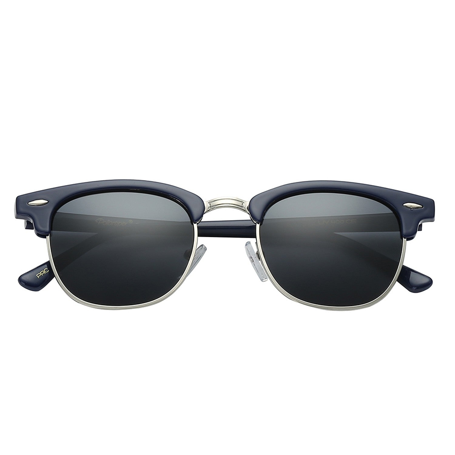 Polarspex Polarized Malcom Half Frame Semi-Rimless Style Unisex Sunglasses with Navy Blue Frames and Smoke Lenses
