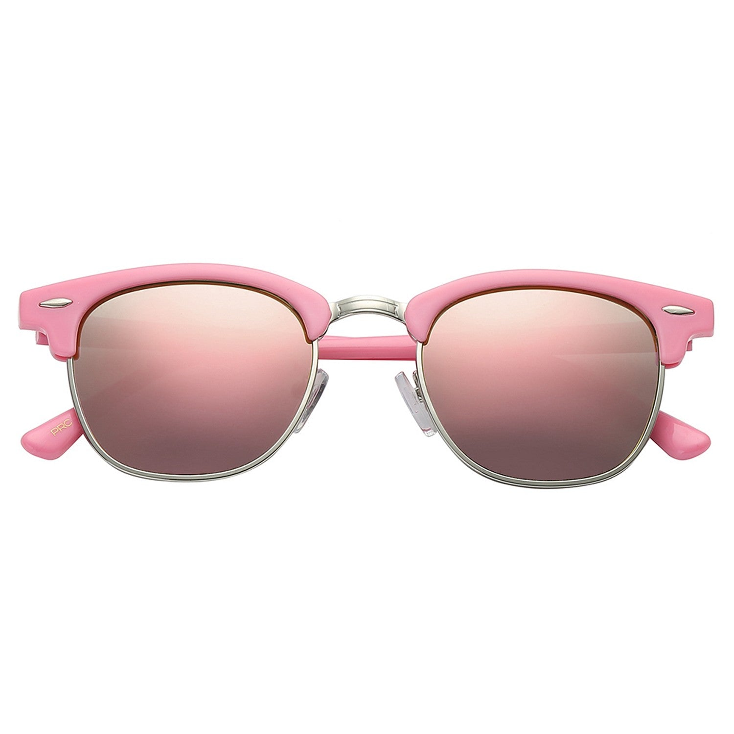 Polarspex Polarized Malcom Half Frame Semi-Rimless Style Unisex Sunglasses with Princess Pink Frames and Pink Quartz Lenses