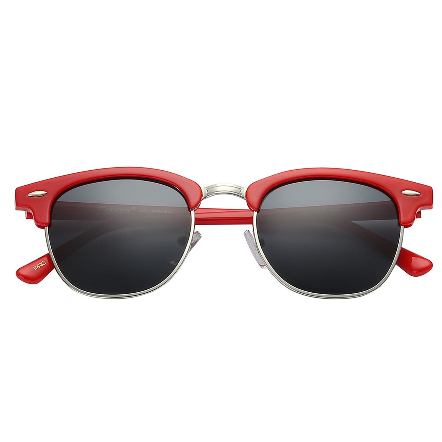 Polarspex Polarized Malcom Half Frame Semi-Rimless Style Unisex Sunglasses with Scarlet Red Frames and Smoke Lenses