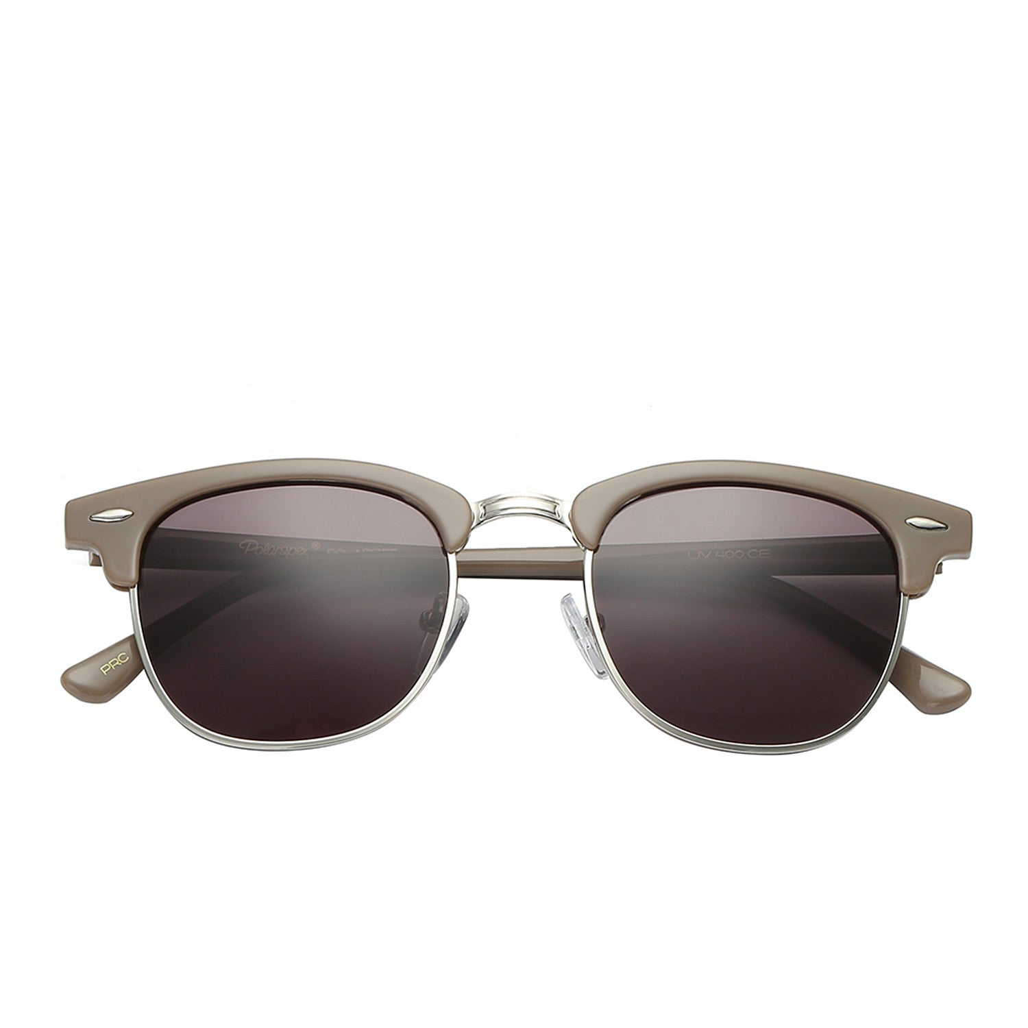 Polarspex Polarized Malcom Half Frame Semi-Rimless Style Unisex Sunglasses with Taupe Frames and Ash Brown Lenses