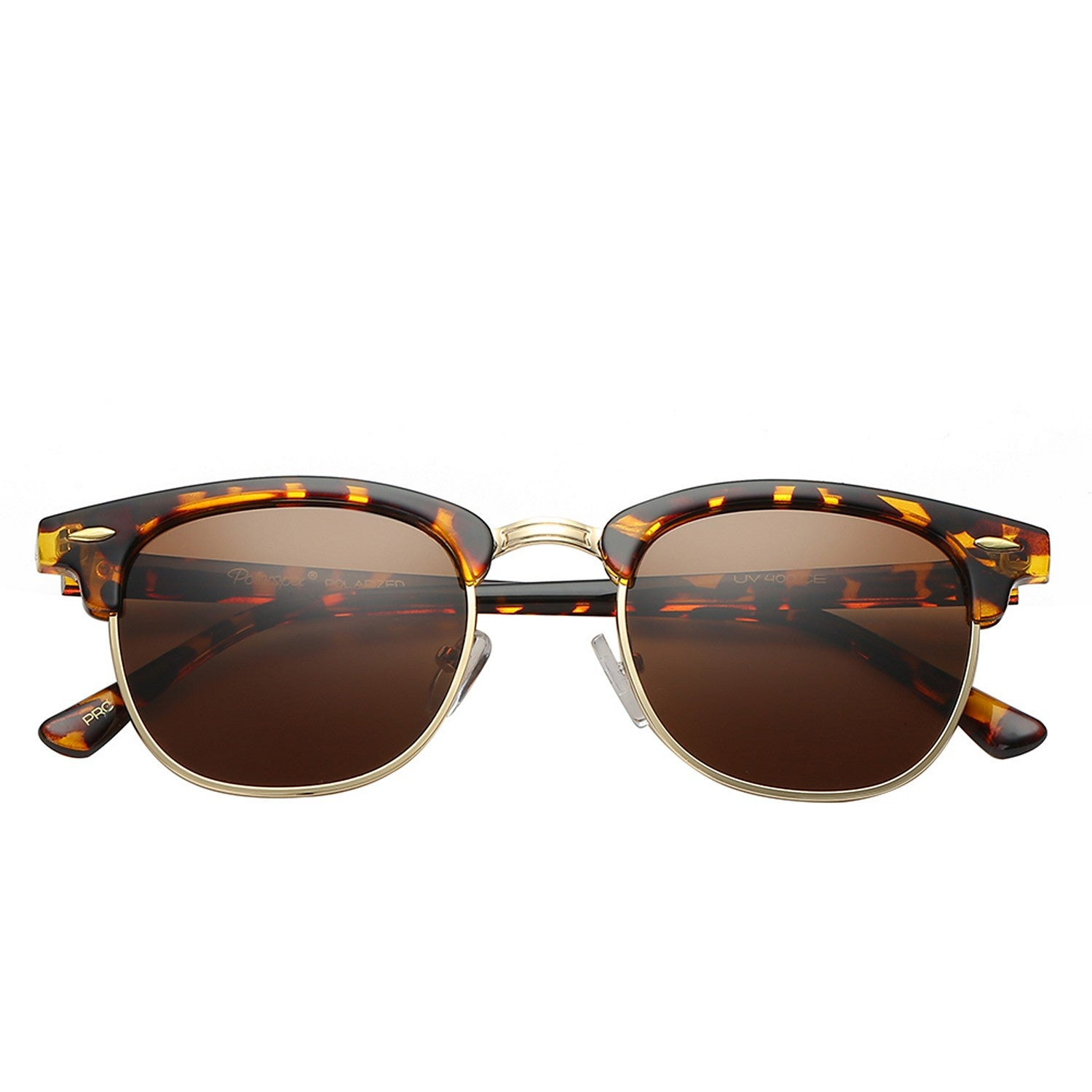 Polarspex Polarized Malcom Half Frame Semi-Rimless Style Unisex Sunglasses with Tortoise Brown Frames and Brown Lenses