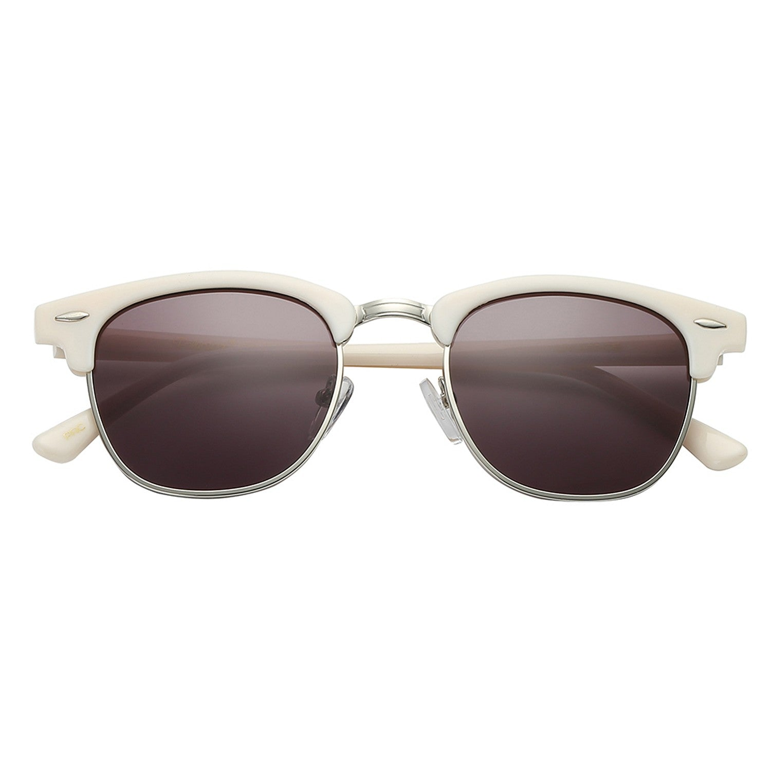 Polarspex Polarized Malcom Half Frame Semi-Rimless Style Unisex Sunglasses with Vanilla Beige Frames and Ash Smoke Lenses