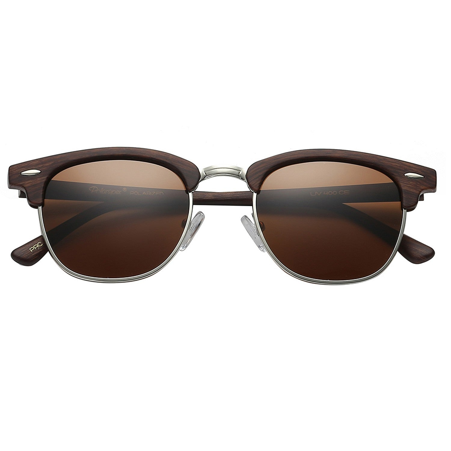 Polarspex Polarized Malcom Half Frame Semi-Rimless Style Unisex Sunglasses with Wood Grain Brown Frames and Brown Lenses