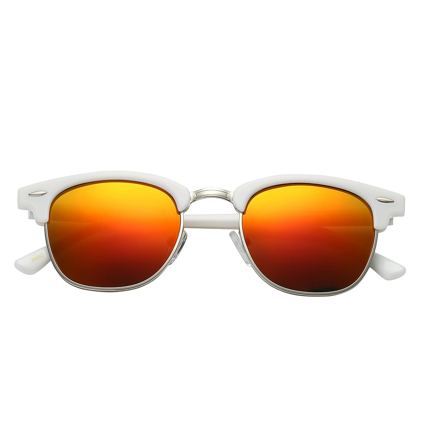 Polarspex Polarized Malcom Half Frame Semi-Rimless Style Unisex Sunglasses with Gloss White Frames and Lava Red Lenses