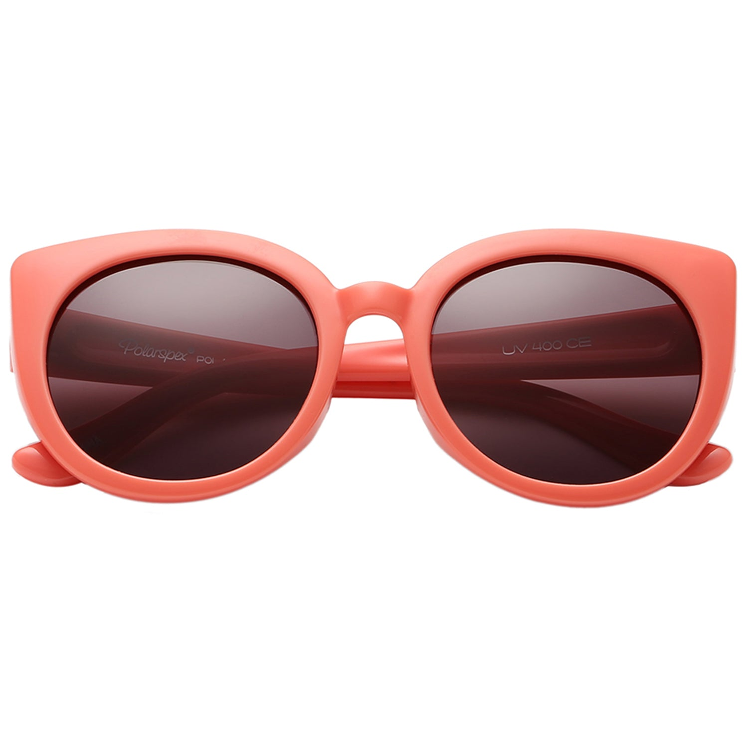 Polarspex Polarized Elastic Cateyes Style (BPA Free) Kids Sunglasses with Ocean Coral Frames and Polarized Ash Smoke Lenses for Girls (Ages 2 - 8)