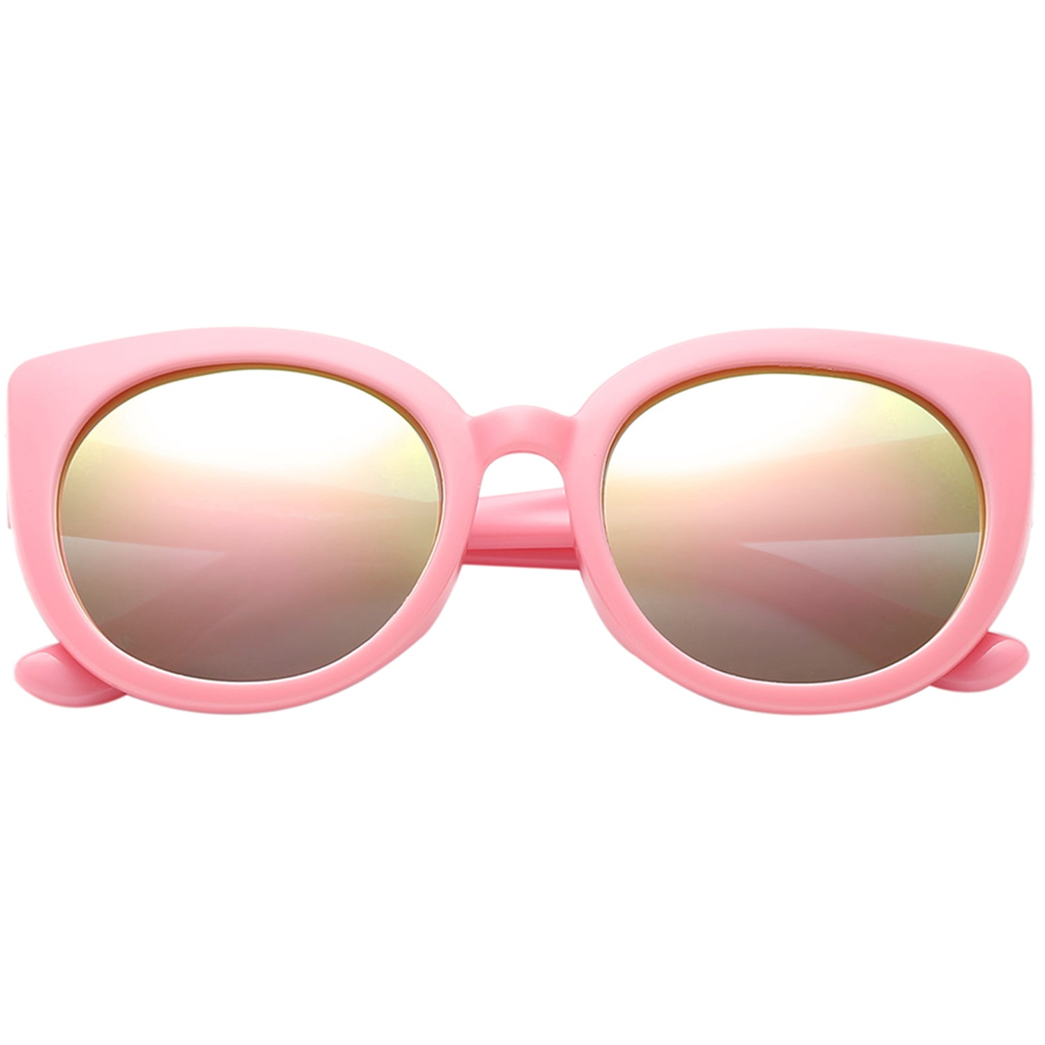 Polarspex Polarized Elastic Cateyes Style (BPA Free) Kids Sunglasses with Princess Pink Frames and Polarized Pink Quartz Lenses for Girls (Ages 2 - 8)