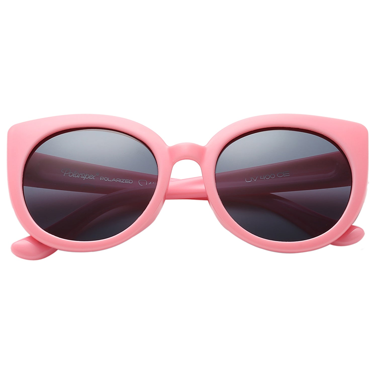 Polarspex Polarized Elastic Cateyes Style (BPA Free) Kids Sunglasses with Princess Pink Frames and Polarized Smoke Lenses for Girls (Ages 2 - 8)