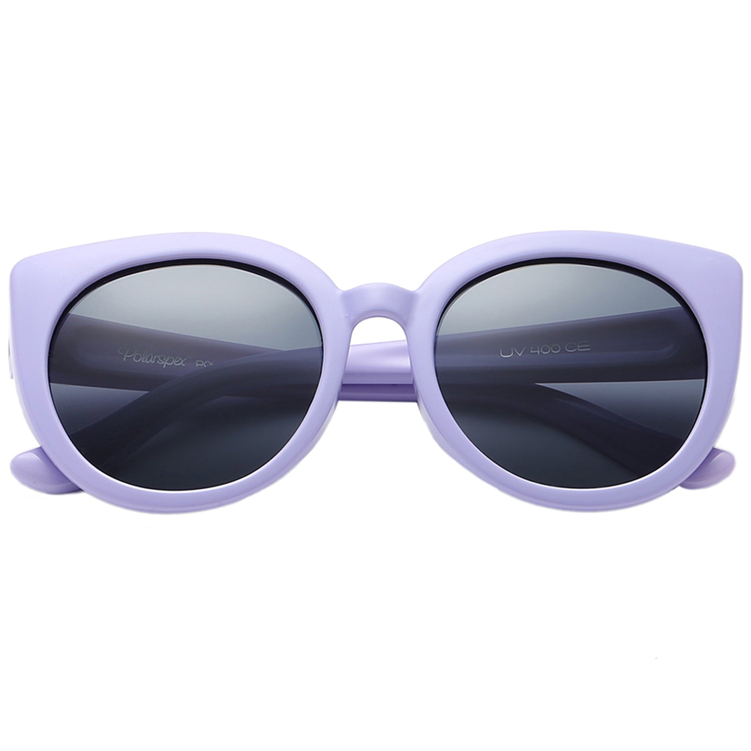 Polarspex Polarized Elastic Cateyes Style (BPA Free) Kids Sunglasses with Purple Lavender Frames and Polarized Smoke Lenses for Girls (Ages 2 - 8)
