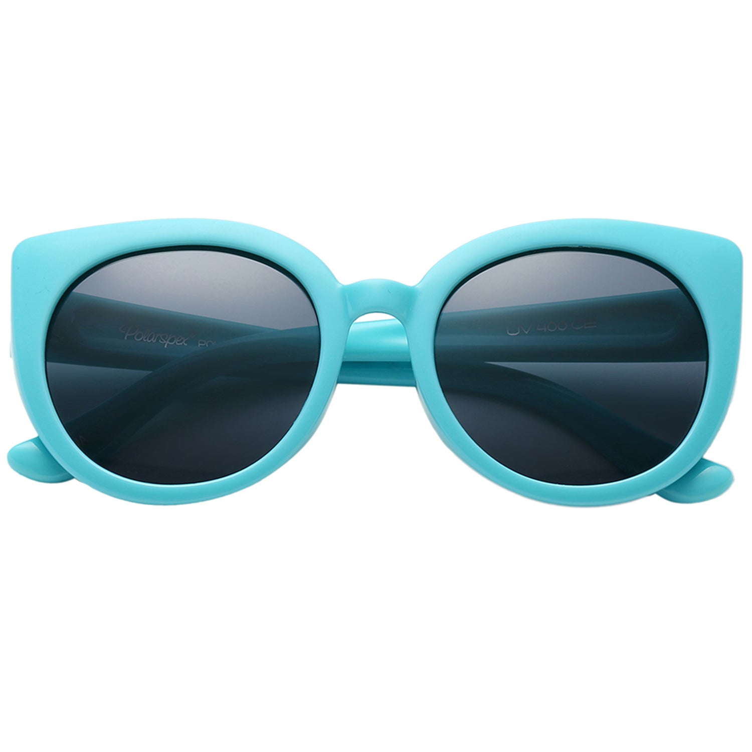 Polarspex Polarized Elastic Cateyes Style (BPA Free) Kids Sunglasses with Turqoise Teal Frames and Polarized Smoke Lenses for Girls (Ages 2 - 8)