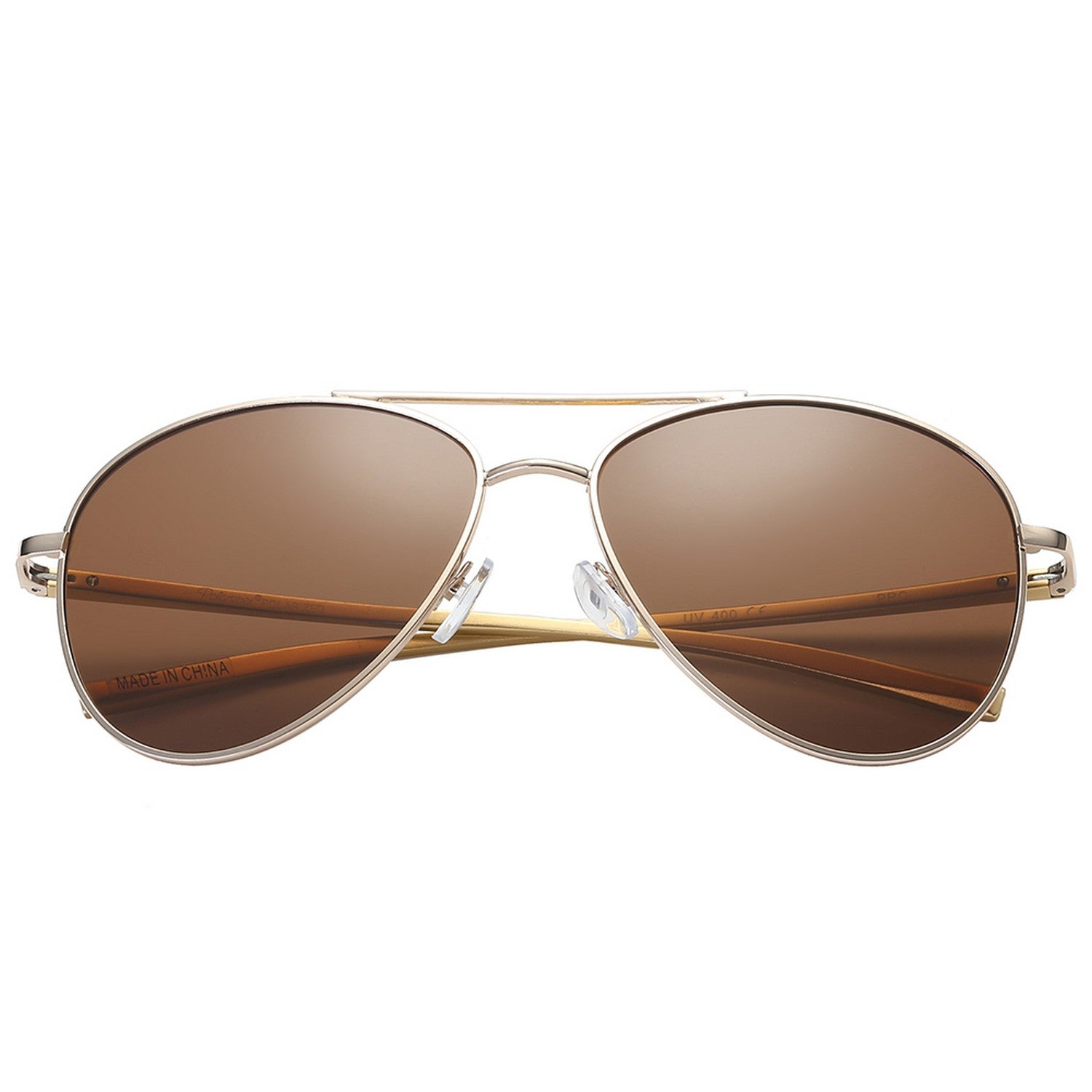 Polarspex Polarized Aviator Style Sunglasses with Aluminum Gold Frames and Polarized Brown Lenses for Men and Women