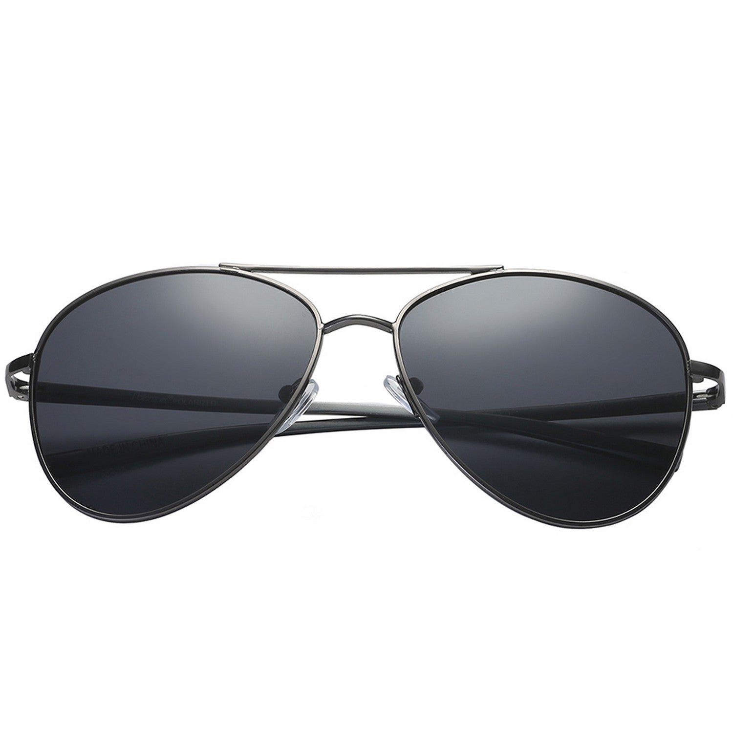 Polarspex Polarized Aviator Style Sunglasses with Aluminum Pewter Frames and Polarized Smoke Lenses for Men and Women