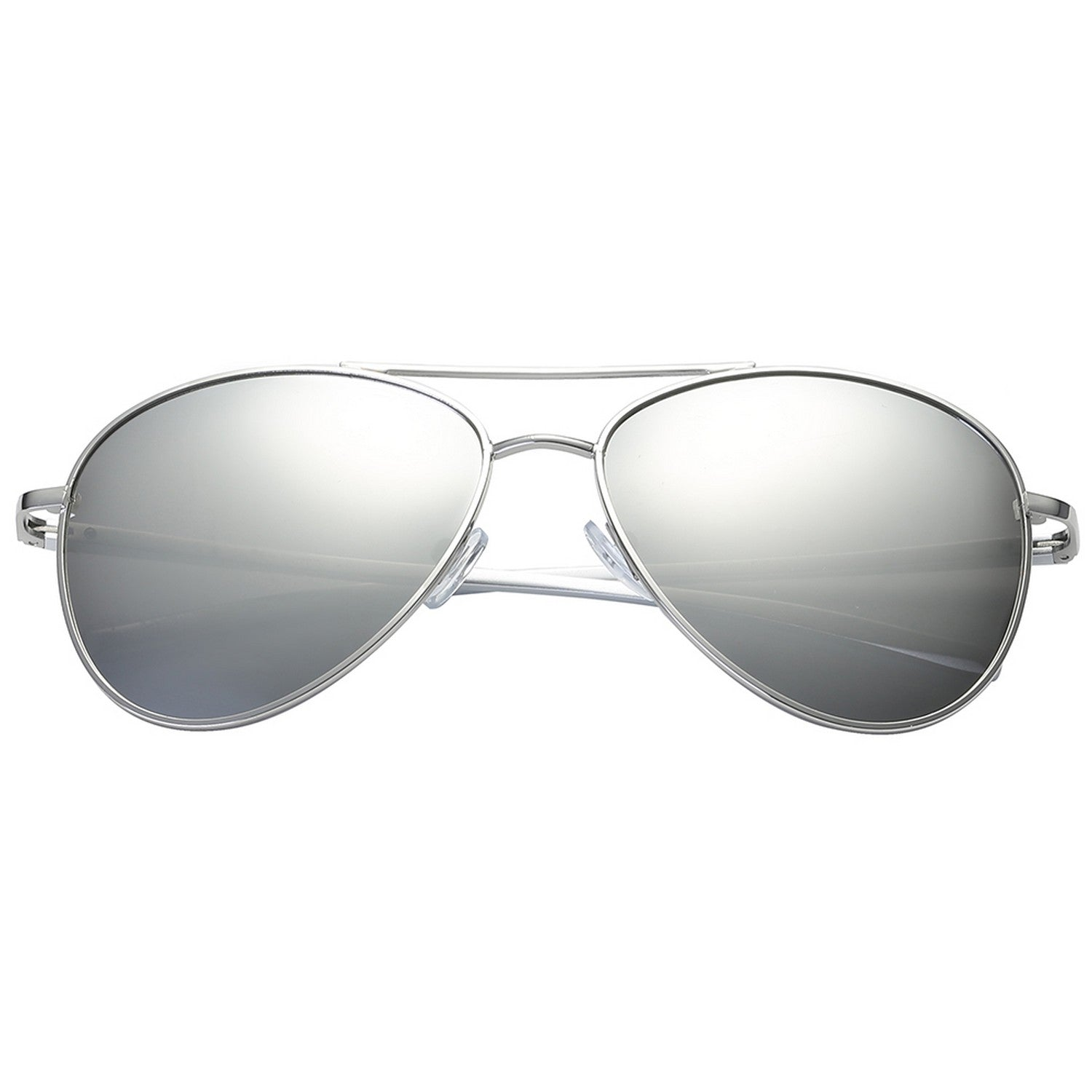 Polarspex Polarized Aviator Style Sunglasses with Aluminum Silver Frames and Polarized Ice Tech Lenses for Men and Women