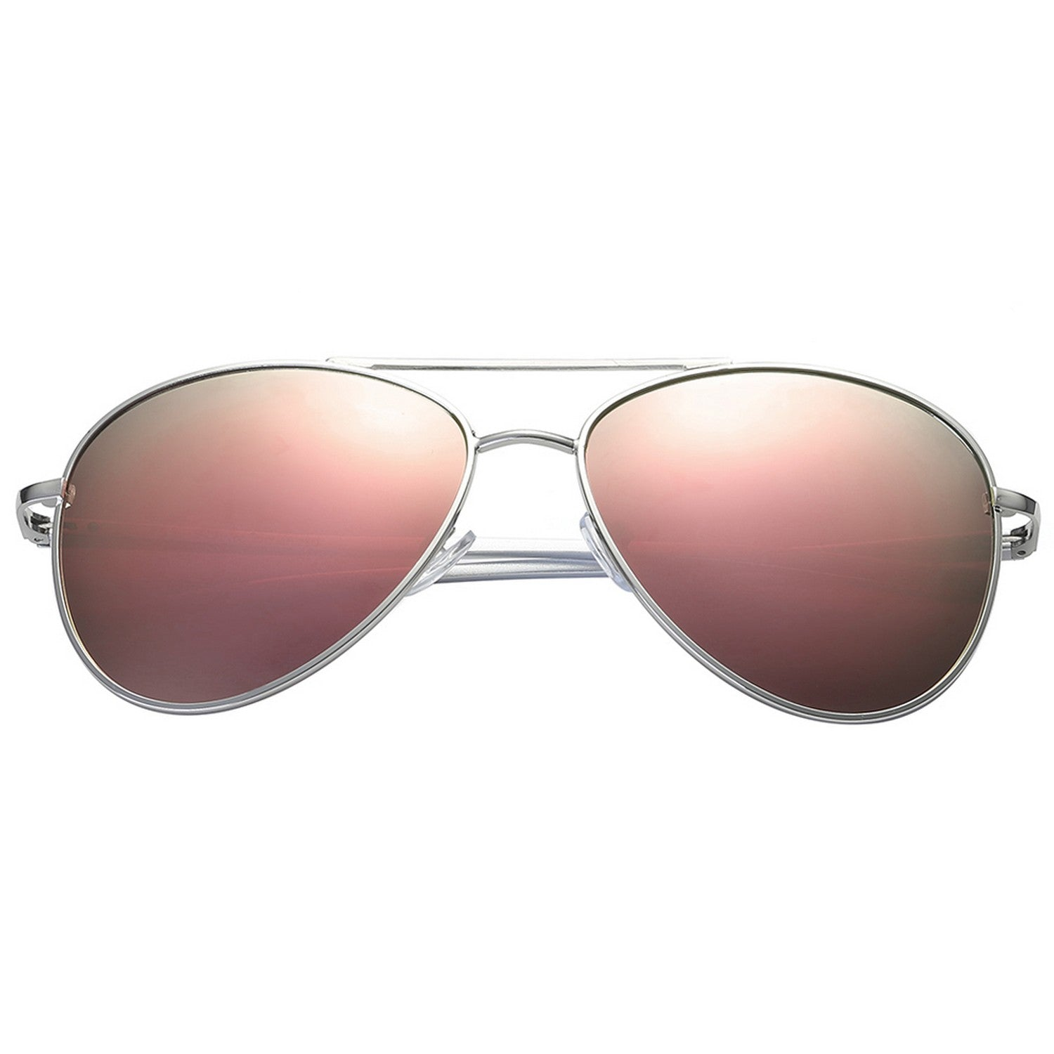 Polarspex Polarized Aviator Style Sunglasses with Aluminum Silver Frames and Polarized Pink Quartz Lenses for Men and Women