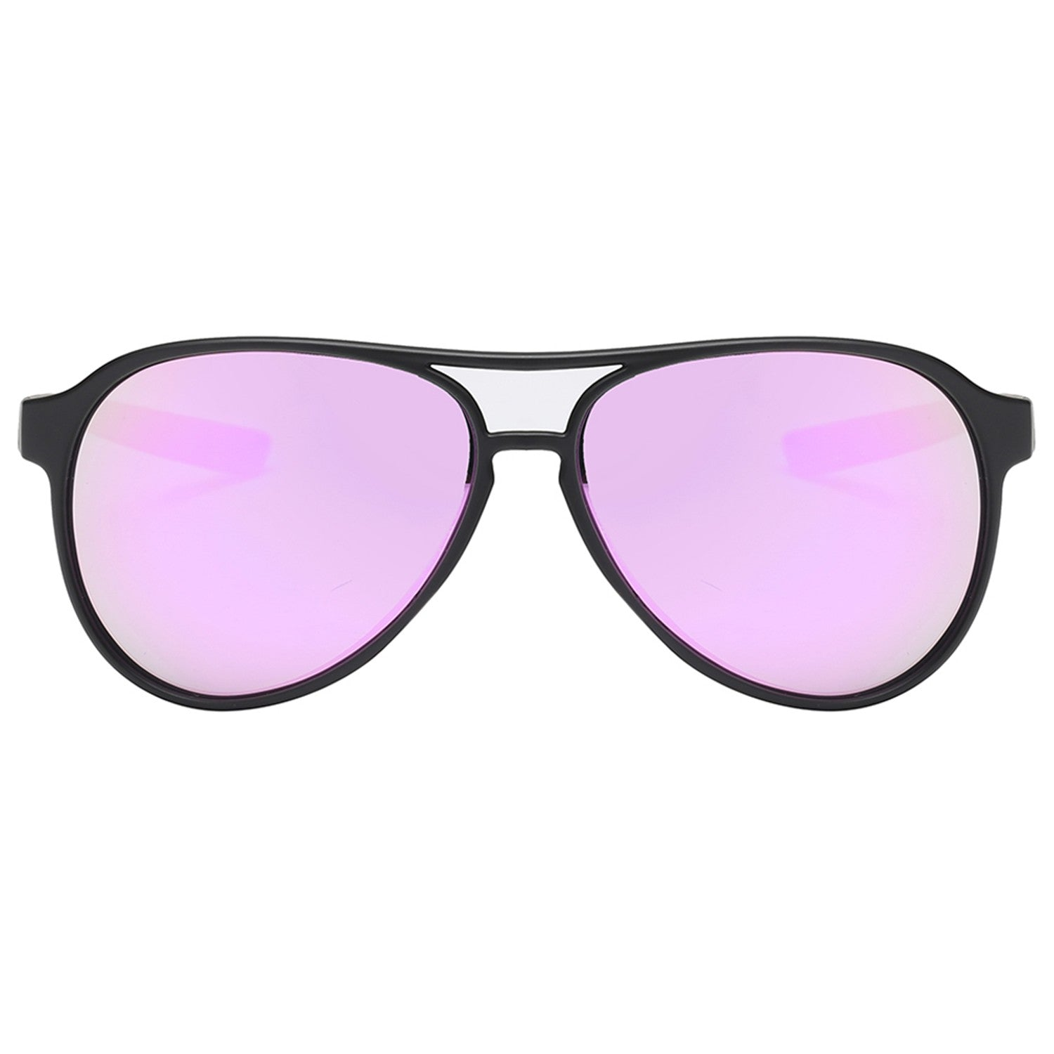 Polarspex Polarized Classic Ultar Lightweight Aviator Pilot Sunglasses with Matte Black Frames and Polarized Amethyst Lenses for Men and Women
