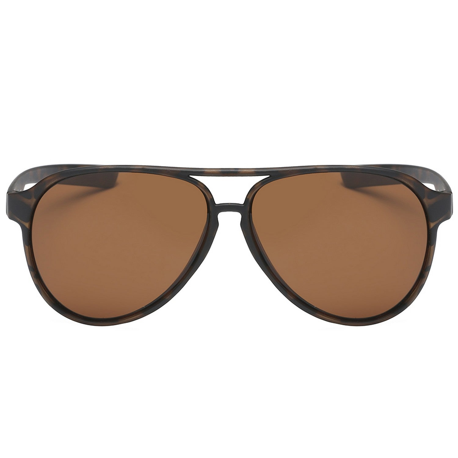 Polarspex Polarized Classic Ultar Lightweight Aviator Pilot Sunglasses with Matte Tortoise Frames and Polarized Brown Lenses for Men and Women