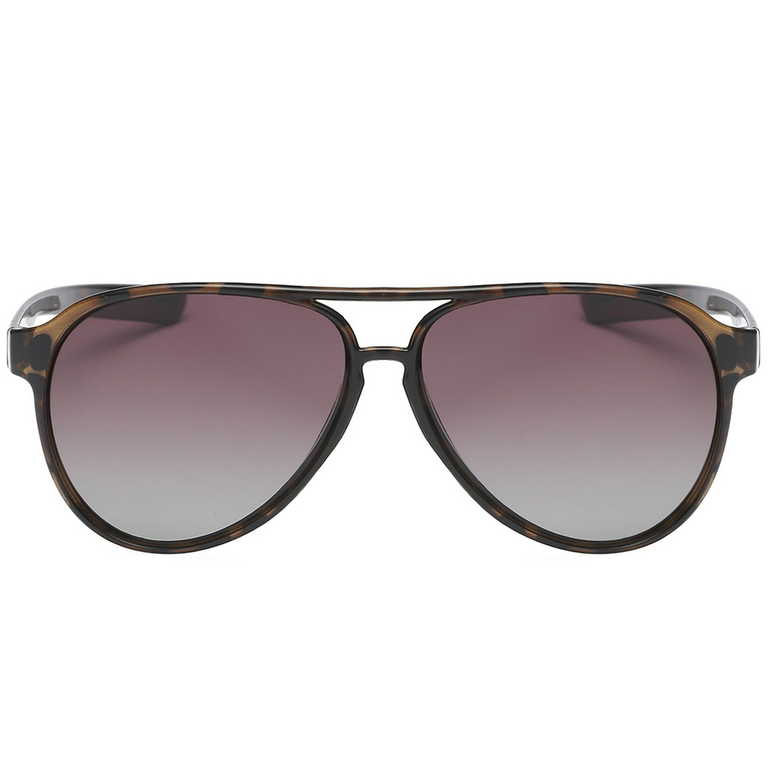 Polarspex Polarized Classic Ultar Lightweight Aviator Pilot Sunglasses with Honey Tortoise Frames and Polarized Gradient Brown Lenses for Men and Women