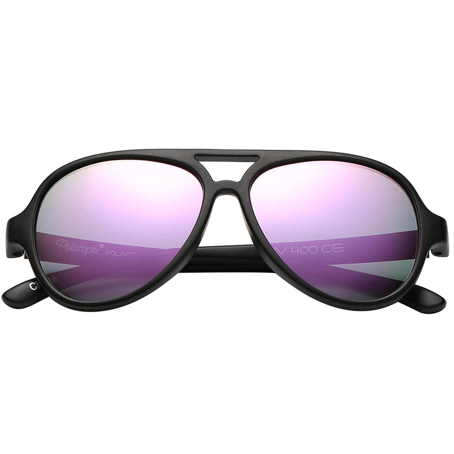 Polarspex Polarized Bendable Aviator Pilot Sunglasses with Matte Black Frames and Polarized Amethyst Lenses for Boys and Girls (Ages 2 - 8)
