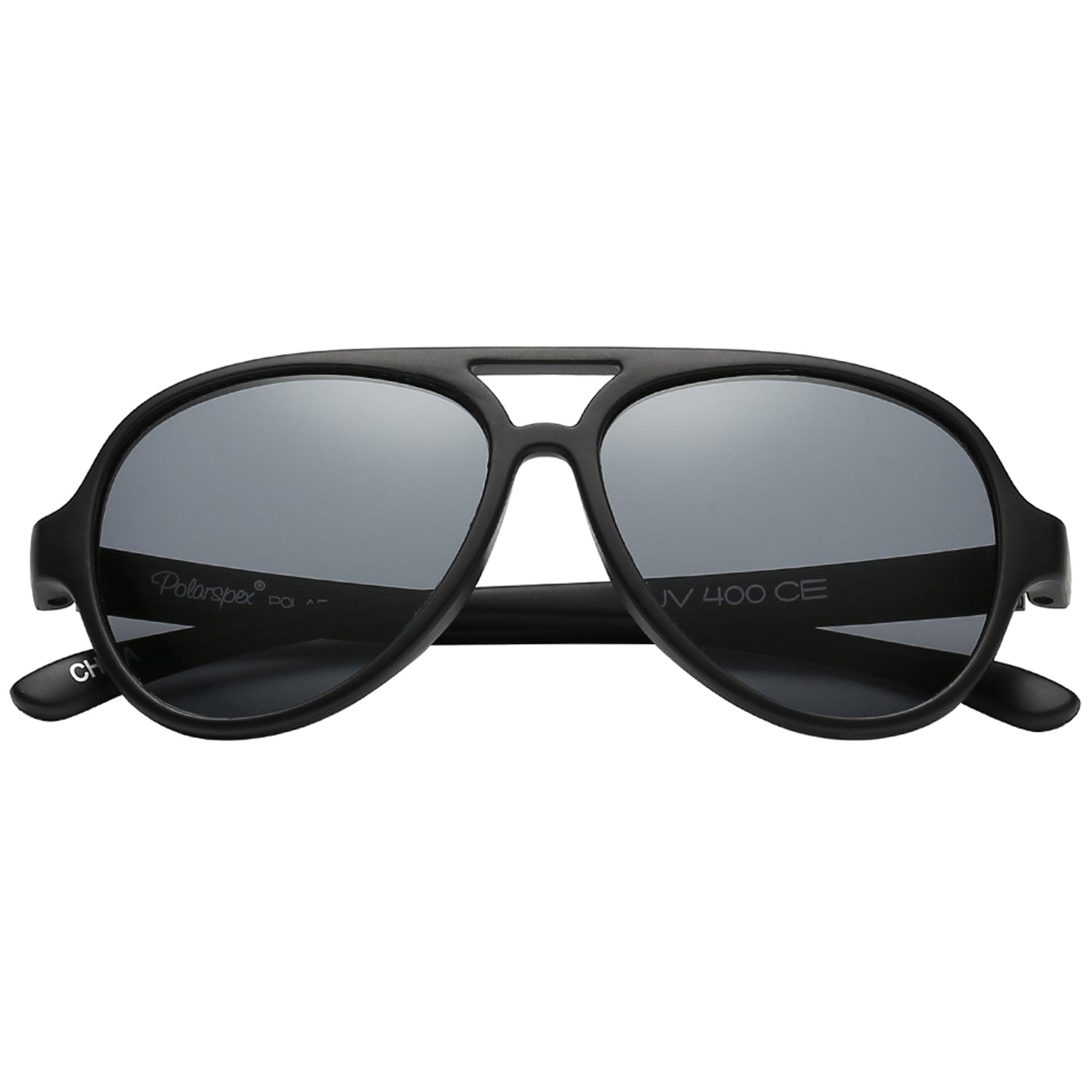 Polarspex Polarized Bendable Aviator Pilot Sunglasses with Matte Black Frames and Polarized Smoke Lenses for Boys and Girls (Ages 2 - 8)