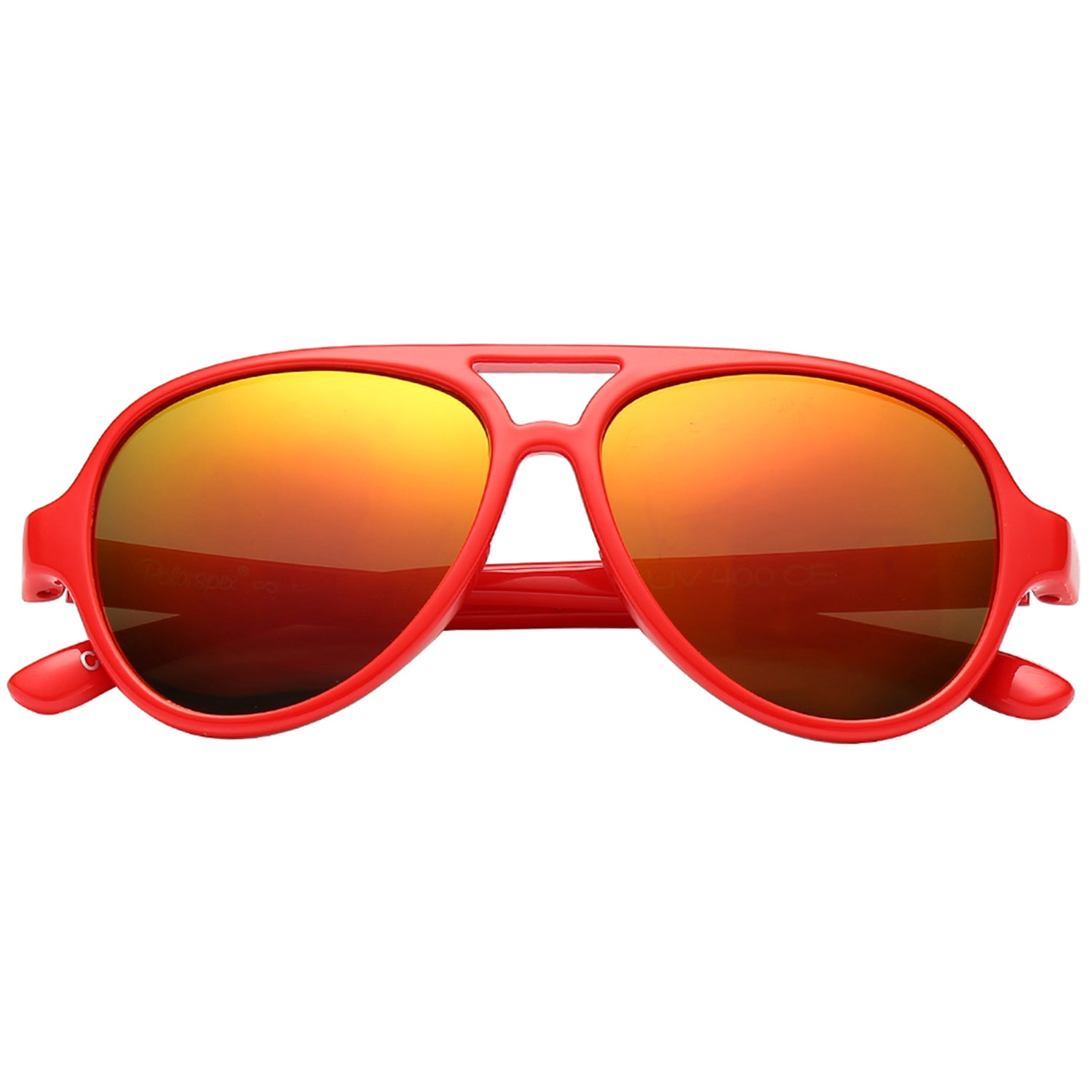 Polarspex Polarized Bendable Aviator Pilot Sunglasses with Scarlet Red Frames and Polarized Lava Red Lenses for Boys and Girls (Ages 2 - 8)