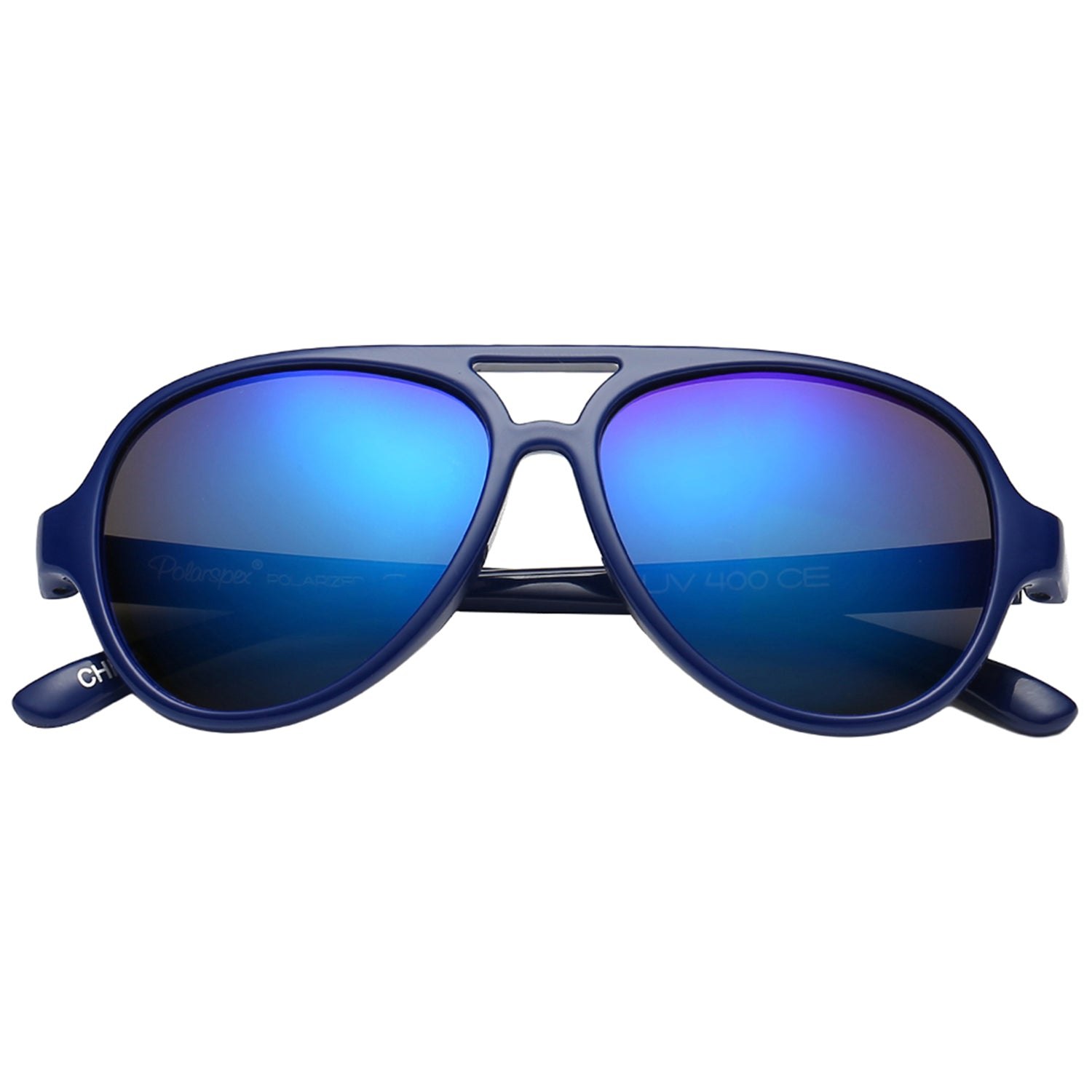 Polarspex Polarized Bendable Aviator Pilot Sunglasses with Royal Blue Frames and Polarized Ice Blue Lenses for Boys and Girls (Ages 2 - 8)