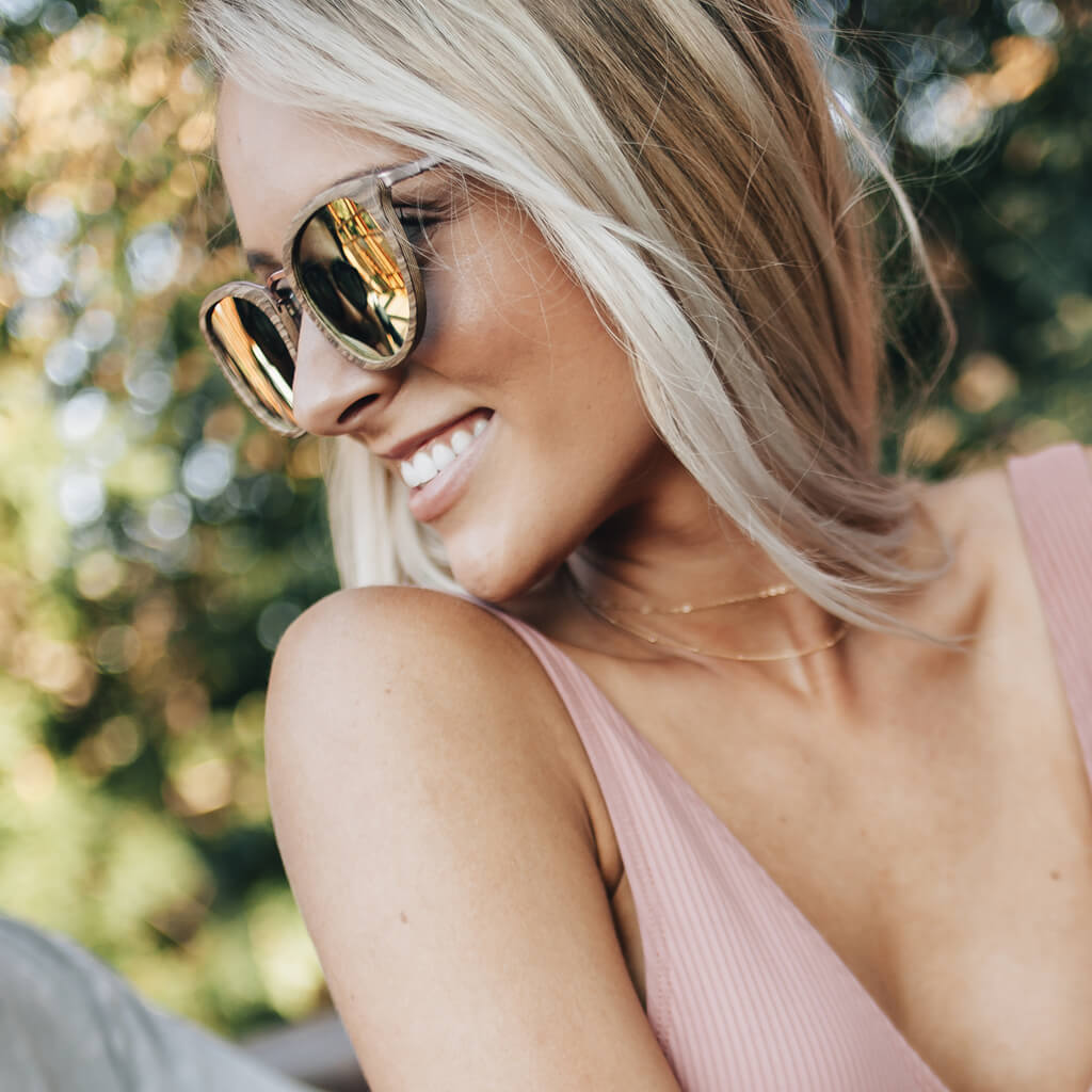 New Meadows Zebra FSC-Certified Sustainable Wood Sunglasses with Rose Gold Mirror Polarized Lenses
