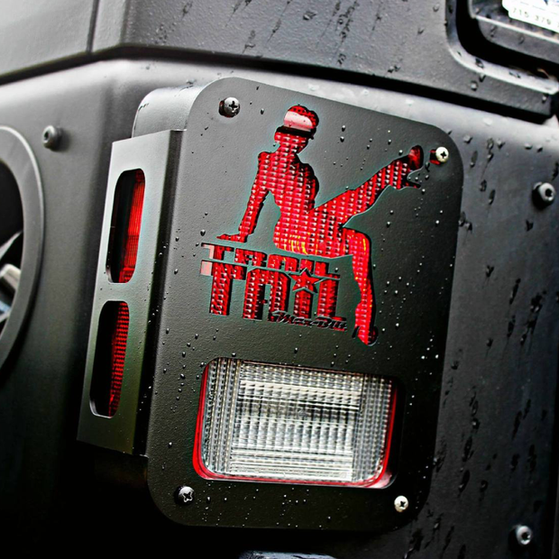 JEEP TAIL LIGHT GUARD 07-18 WRANGLER JK TRAIL TAIL LADY STEEL BLACK POWDERCOAT - Max-Bilt