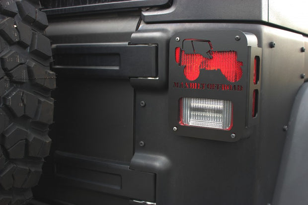 JEEP TAIL LIGHT GUARD 07-18 WRANGLER JK VINTAGE JEEP CUTOUT STEEL BLACK POWDERCOAT - Max-Bilt