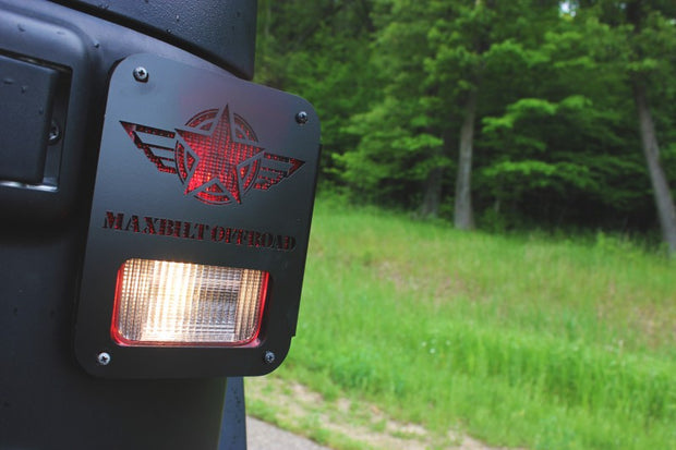 JEEP TAIL LIGHT COVER 07-18 WRANGLER JK STAR CUTOUT STEEL BLACK POWDERCOAT - Max-Bilt